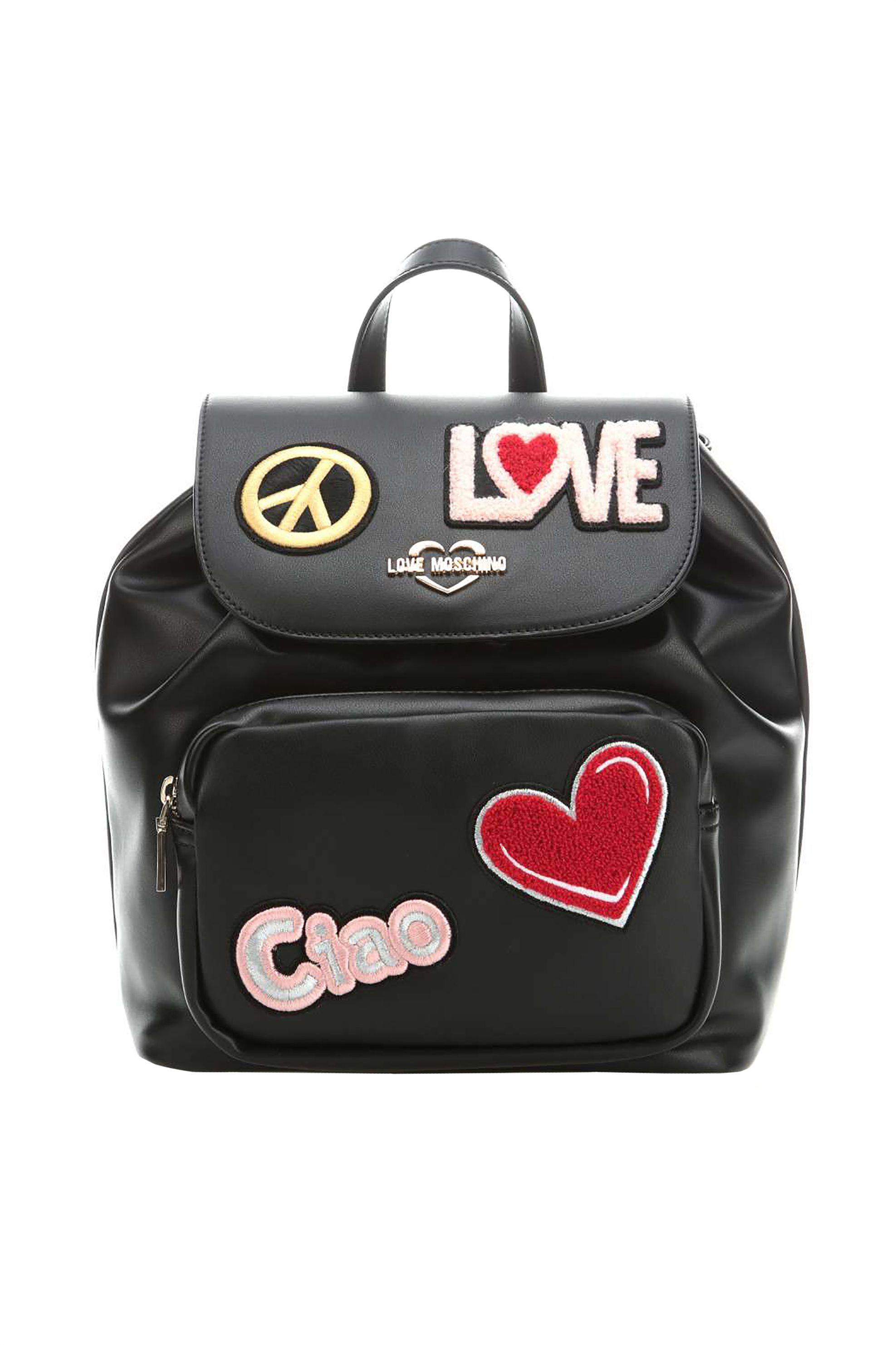 d6d3606353 Notos Love Moschino γυναικείο backpack με patches - JC4082PP17LJ0 - Μαύρο