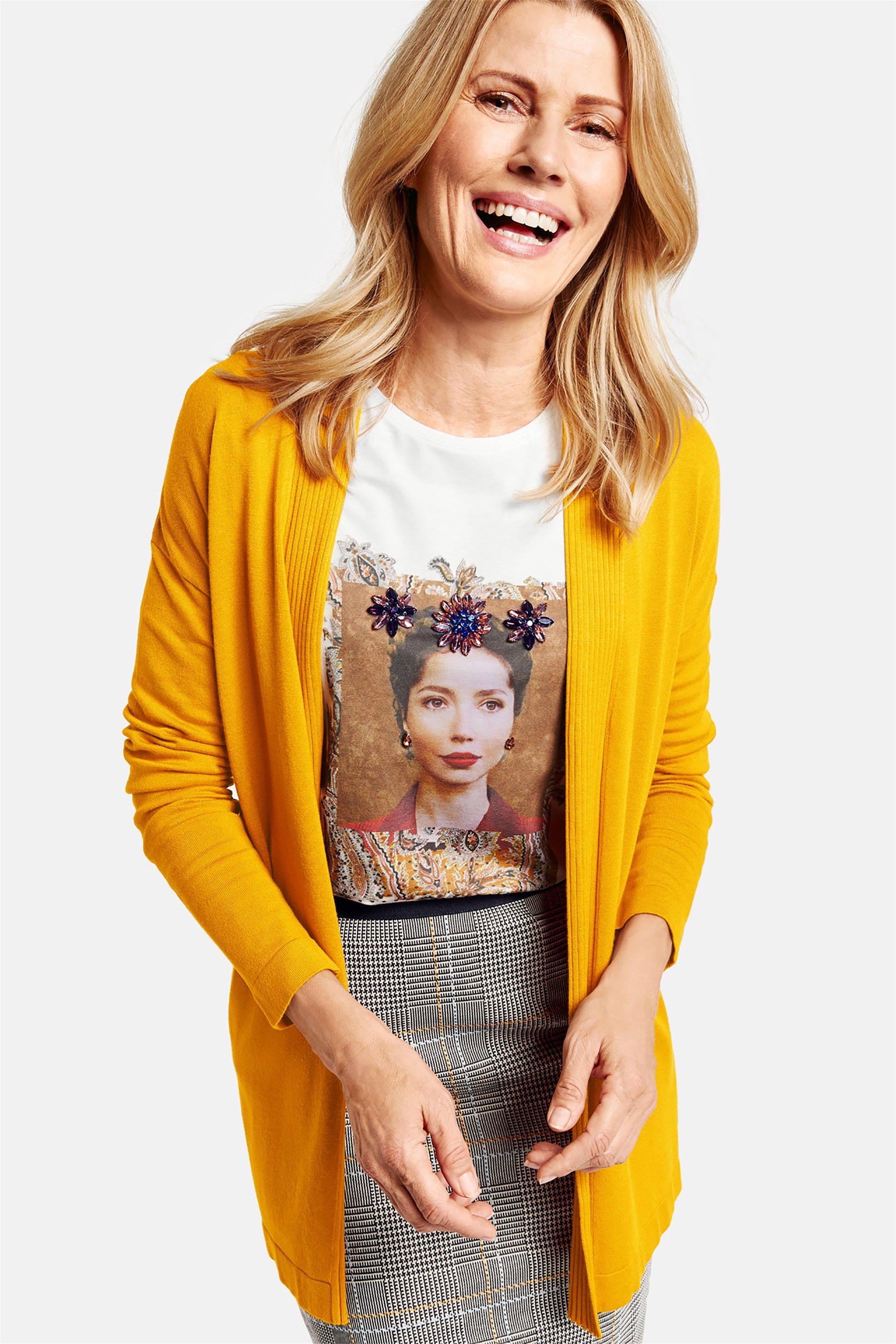 Gerry Weber γυναικεία πλεκτή μονόχρωμη ζακέτα ribbed - 231063-35711 - Κίτρινο