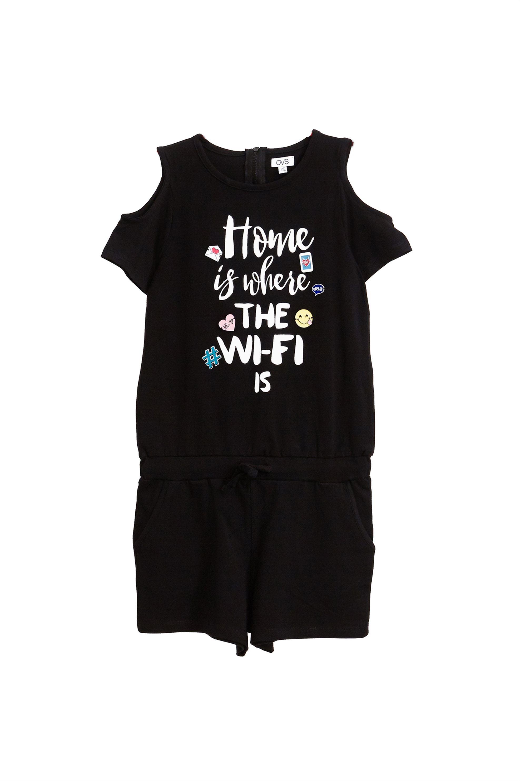 Παιδική ολόσωμη φόρμα σορτς με letter print (9-14 ετών) OVS - 000228541 - Μαύρο παιδι   κοριτσι   4 14 ετων   tops   παντελόνια   σαλοπέτες