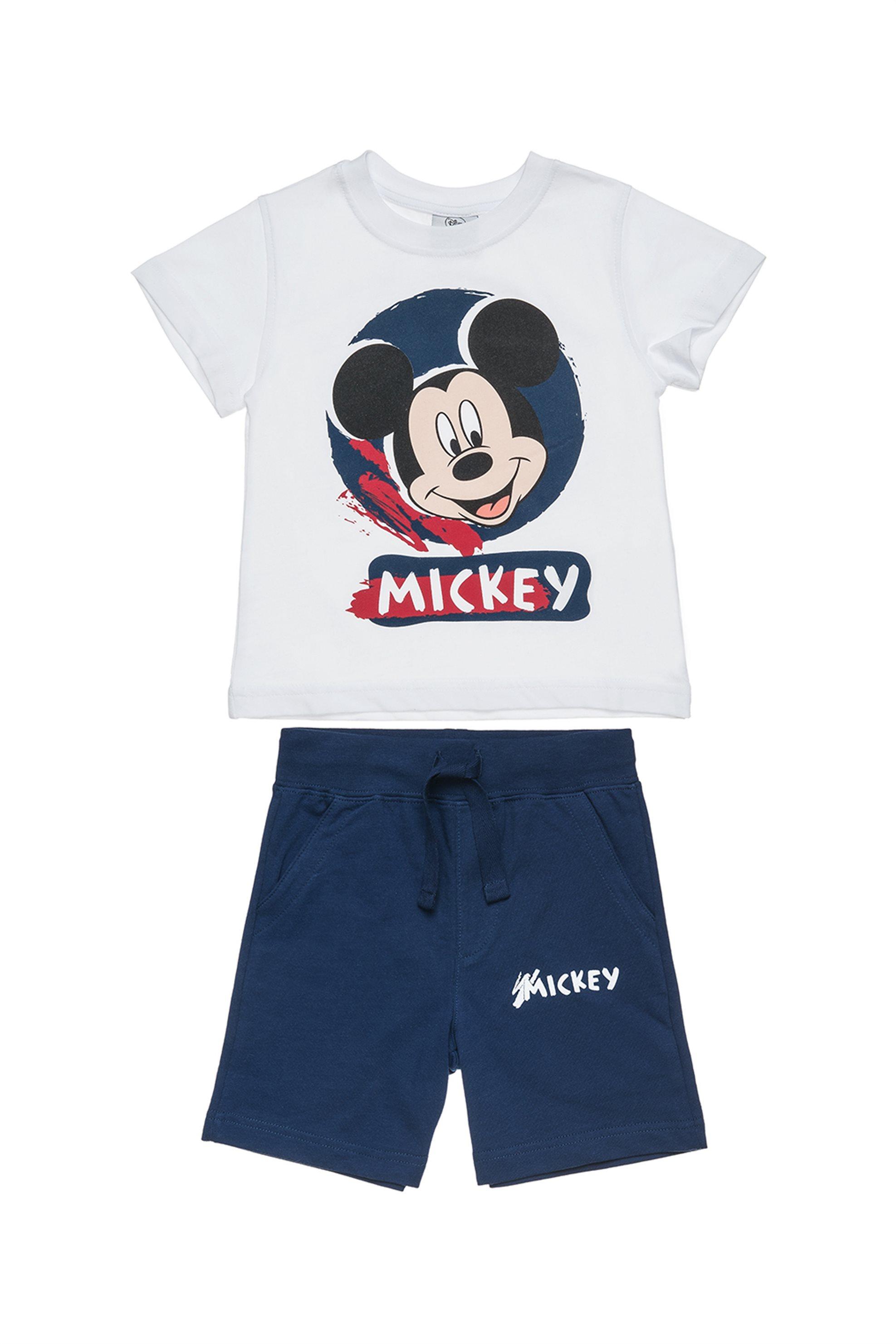 Βρεφικό σετ T-shirt με print Mickey Mouse και βερμούδα Disney - 00370484 - Λευκό παιδι   βρεφικα αγορι   0 3 ετων   αγορι   4 14 ετων   ρούχα   σετ ρούχων   σετ