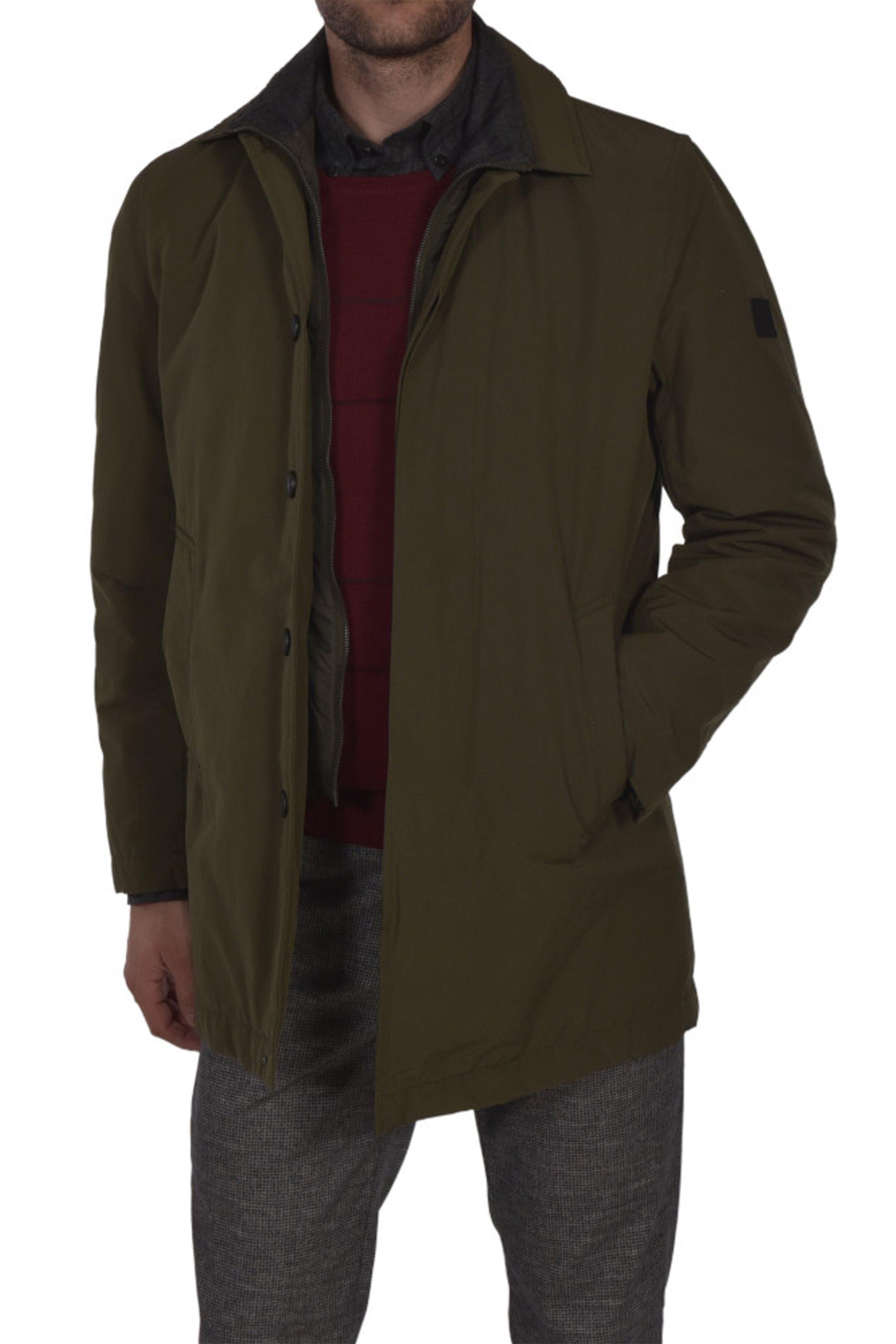 d7db9cc9db76 Notos Dur ανδρικό παλτό καμπαρντίνα με φερμουάρ και κουμπιά - 50210307 -  Λαδί