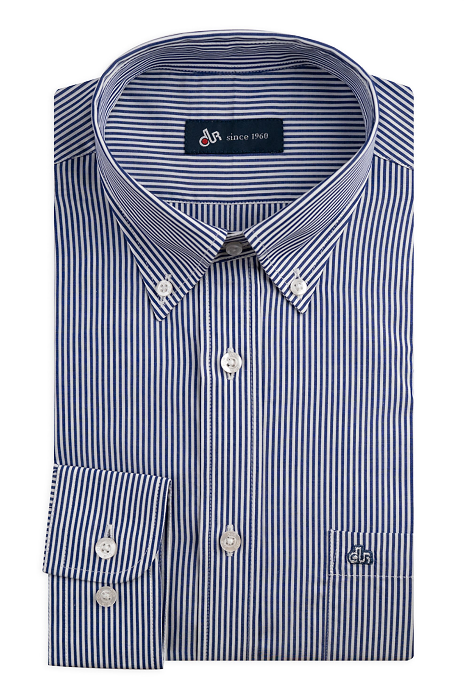 Dur ανδρικό ριγέ πουκάμισο Regular fit - 10210039 - Μπλε