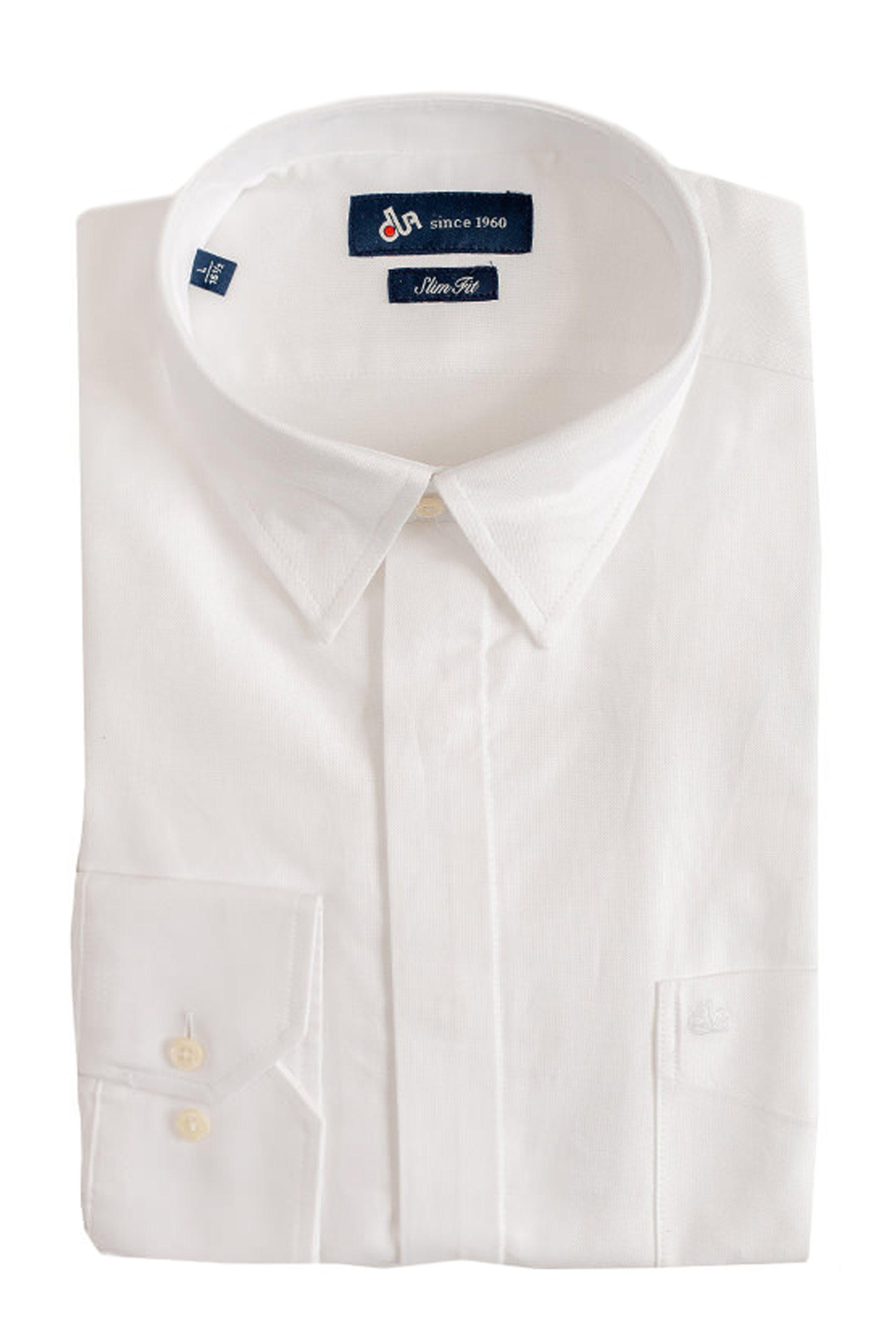68e2b217b4c4 Dur ανδρικό μονόχρωμο πουκάμισο Oxford σε στενή γραμμή - 10020638 - Λευκό