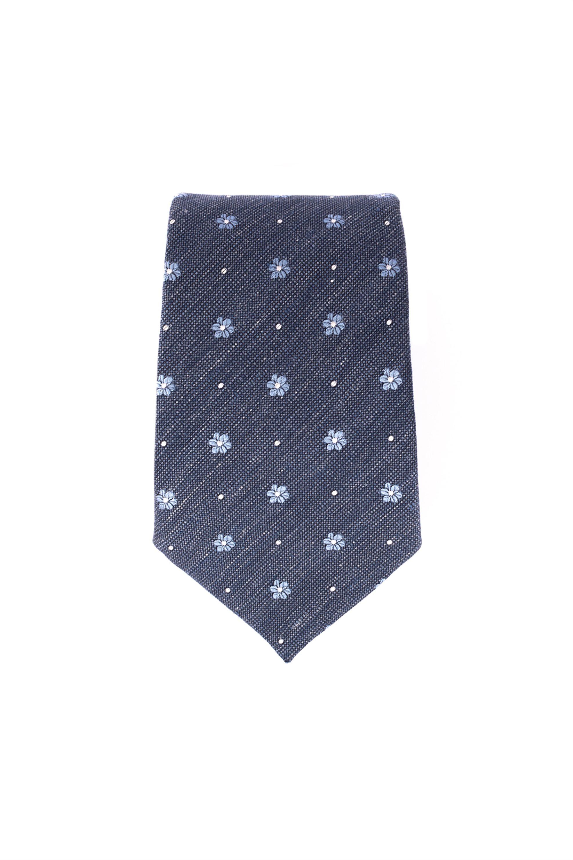 Dur ανδρική μεταξωτή γραβάτα με μιρκοσχέδιο - 71200108 - Μπλε Σκούρο