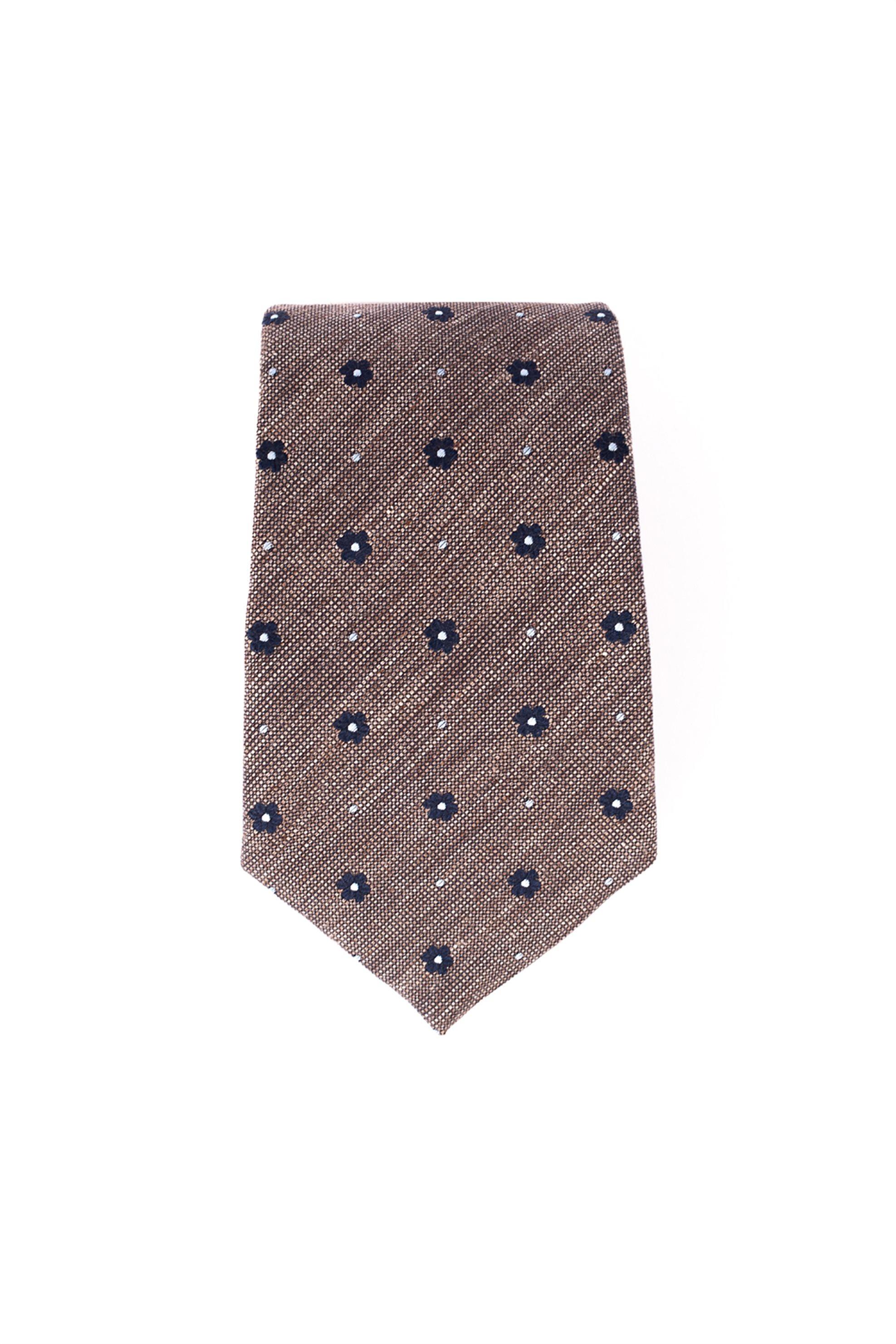 Dur ανδρική μεταξωτή γραβάτα με μιρκοσχέδιο - 71200108 - Καφέ