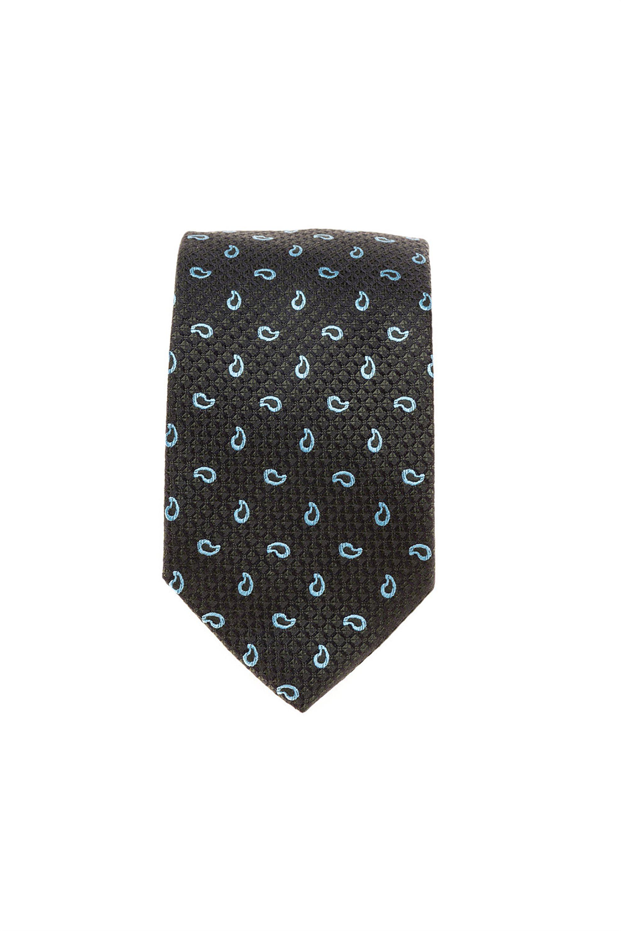 Dur ανδρική μεταξωτή γραβάτα με print λαχούρια - 70200297 - Ανθρακί