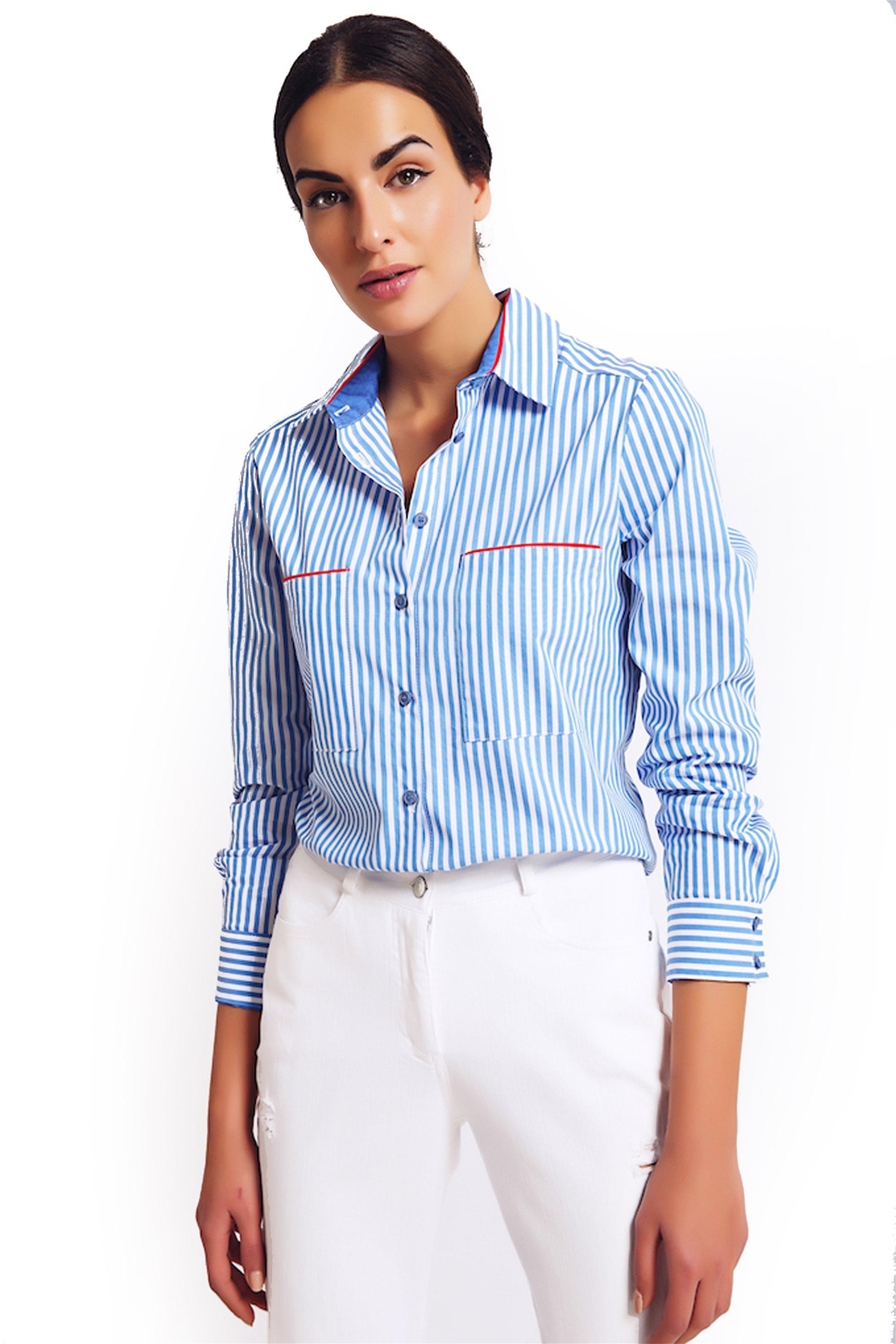Γυναικεία   Ρούχα   Πουκάμισα   Denim πουκάμισο με βαμβάκι και ... 216f573bfc8