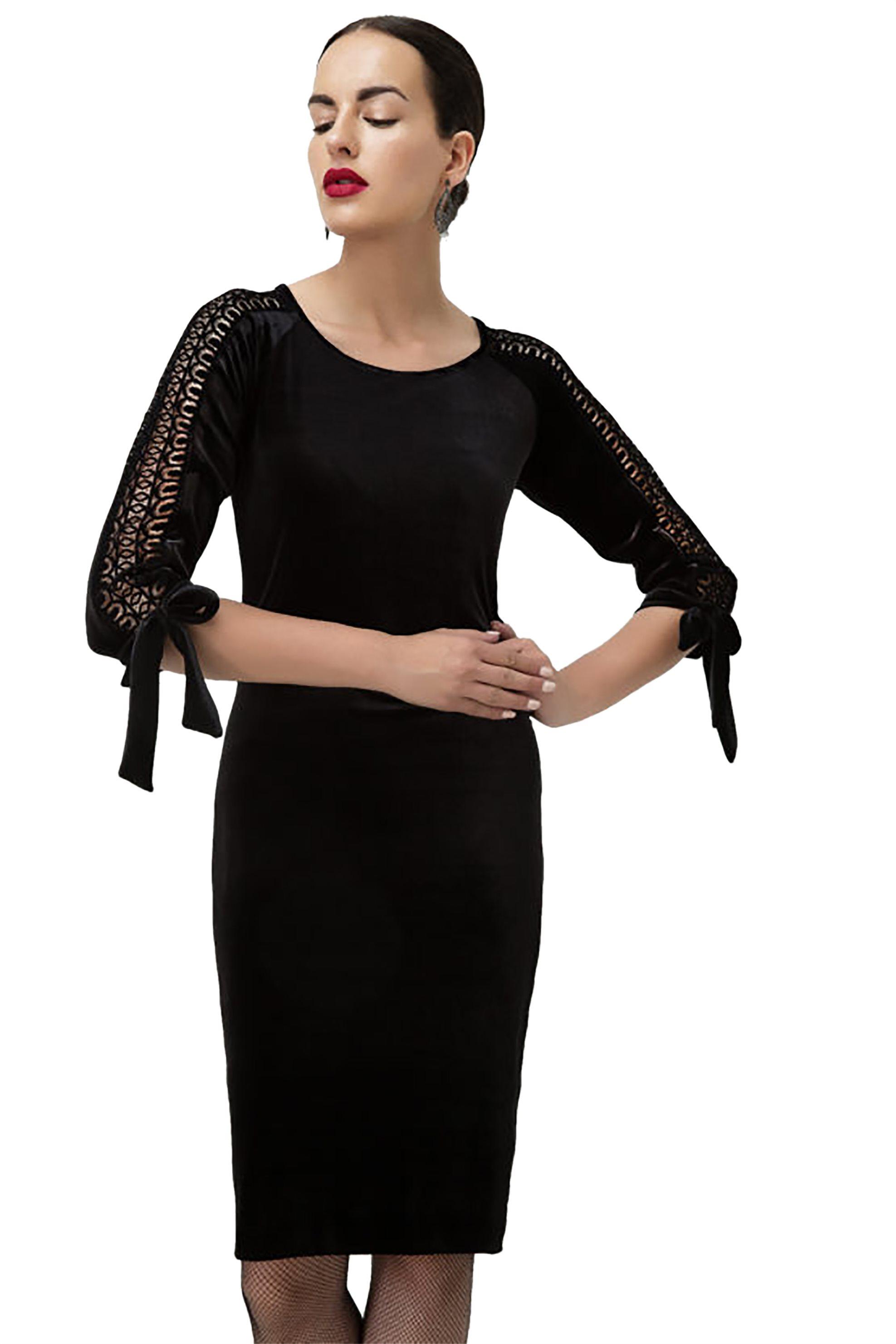 Billy Sabbado γυναικείο φόρεμα απο βελούδο με δαντέλα - 0103916961 - Μαύρο γυναικα   ρουχα   φορέματα   midi φορέματα