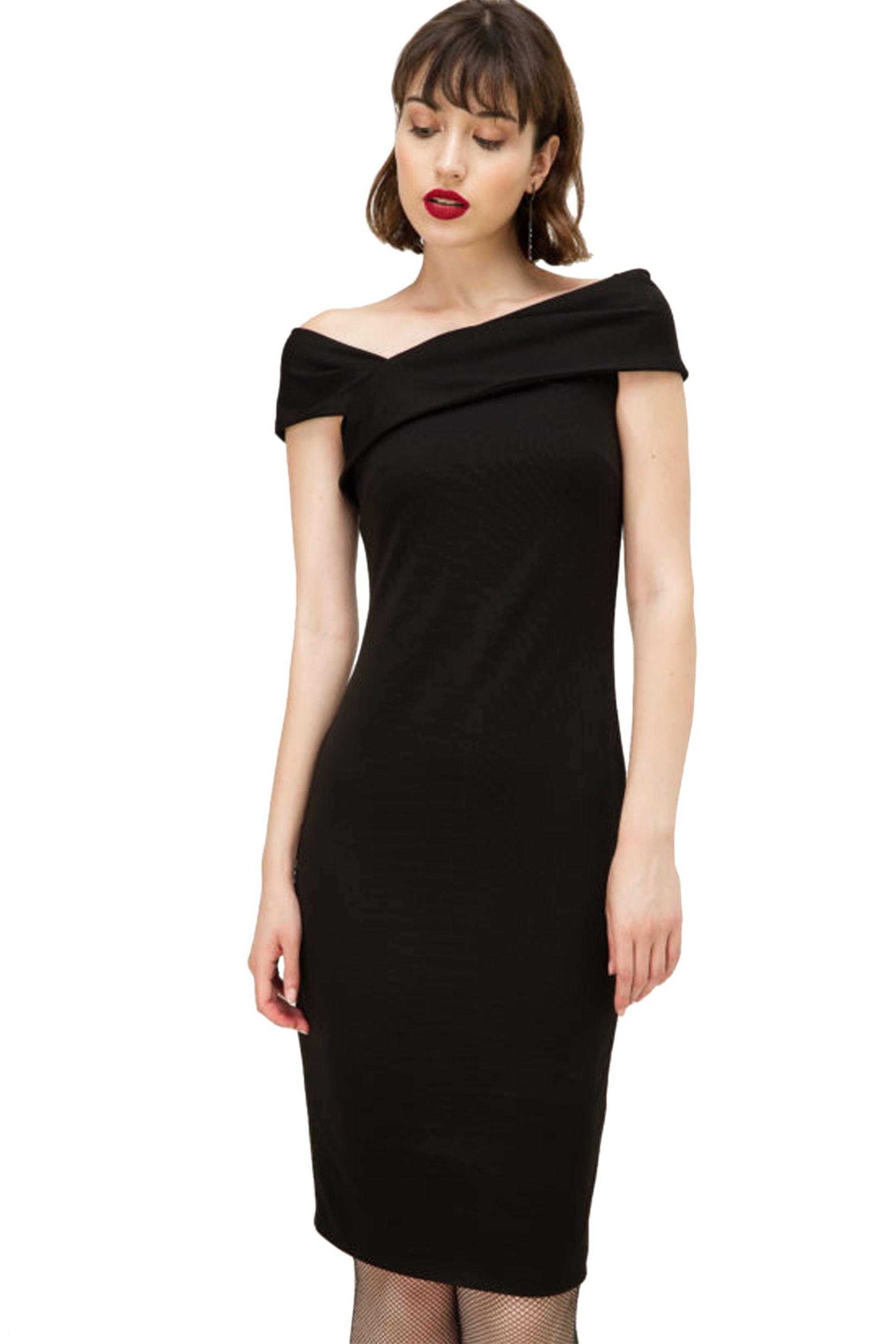 Billy Sabbado γυναικείο φόρεμα μονόχρωμο με ακάλυπτους ώμους - 0191952673 - Μαύρ γυναικα   ρουχα   φορέματα   mini φορέματα