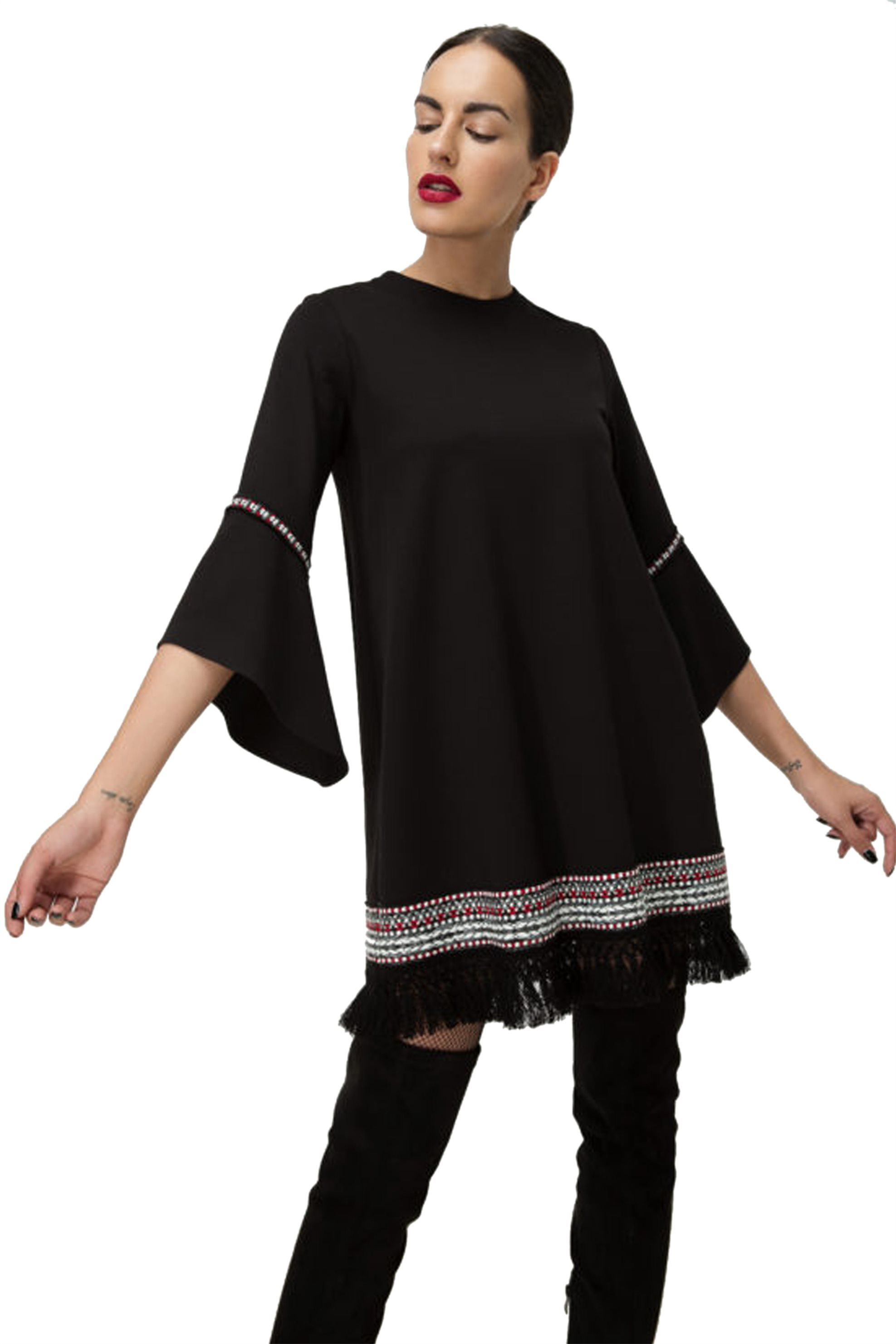 Billy Sabbado γυναικείο μίνι φόρεμα με κεντήματα και κρόσσια - 0137915730 - Μαύρ γυναικα   ρουχα   φορέματα   midi φορέματα