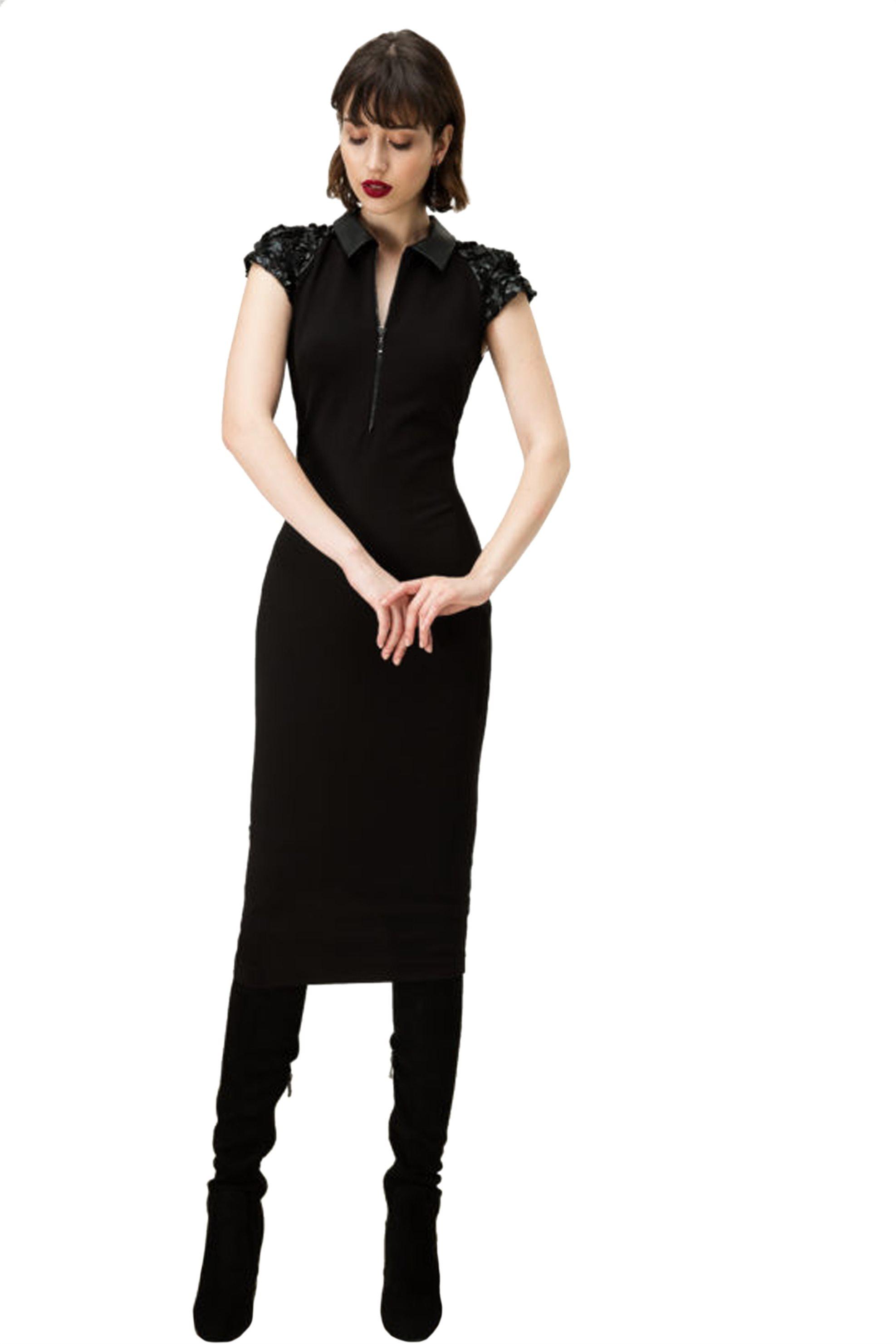 Billy Sabbado γυναικείο μίντι φόρεμα με faux leather λεπτομέρειες - 0192966686 - γυναικα   ρουχα   φορέματα   midi φορέματα