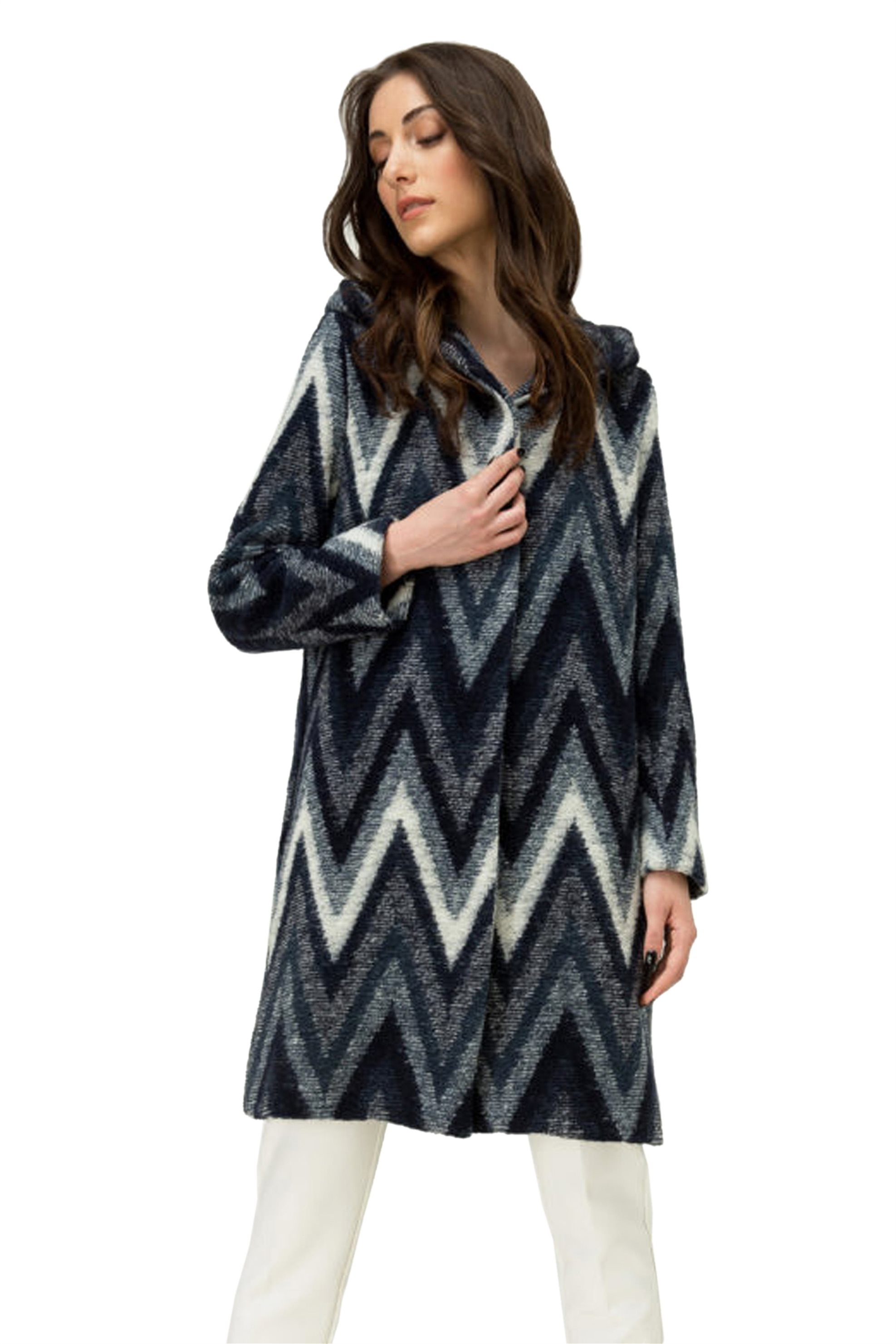 Billy Sabbado γυναικείο μίντι παλτό με γεωμετρικό σχέδιο - 0143833607 - Μπλε Σκο γυναικα   ρουχα   πανωφόρια   μίντι παλτό