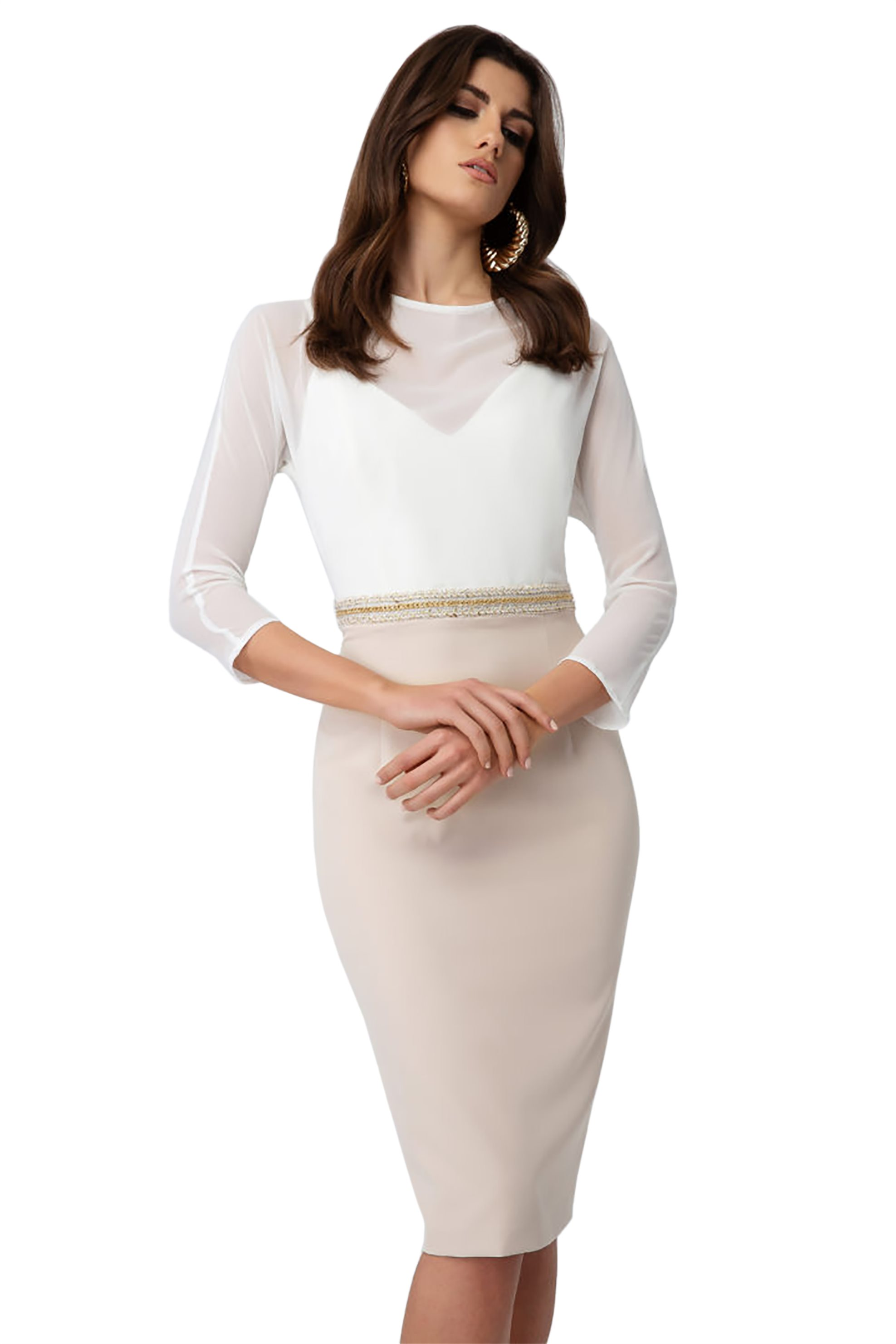 Billy Sabbado γυναικείο φόρεμα pencil με λεπτομέρεια στην μέση - 0210903154 - Μπ γυναικα   ρουχα   φορέματα   midi φορέματα