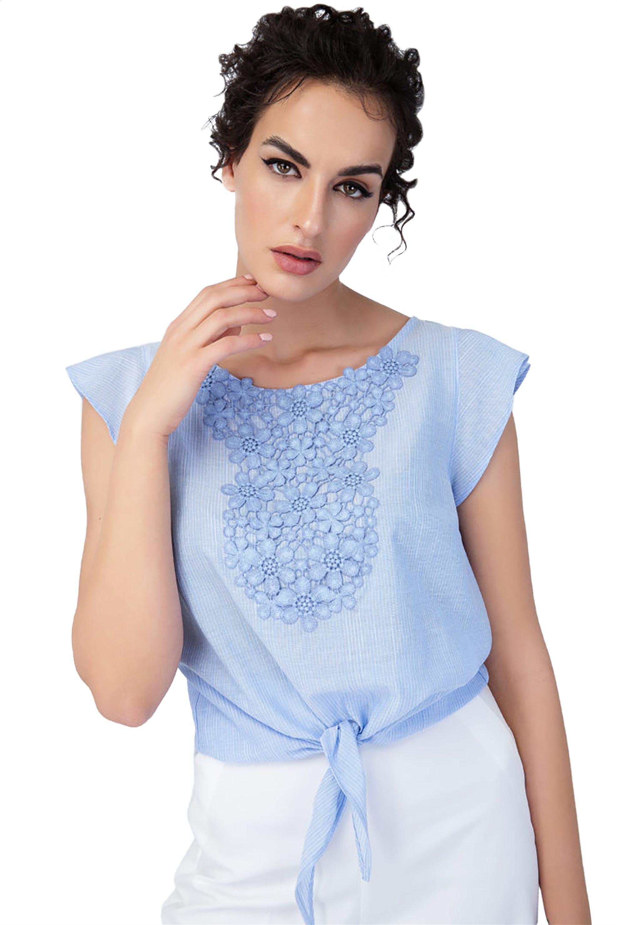 Billy Sabbado γυναικεία μπλούζα με απλικέ δαντέλα - 0235239112 - Γαλάζιο γυναικα   ρουχα   tops   μπλούζες   casual