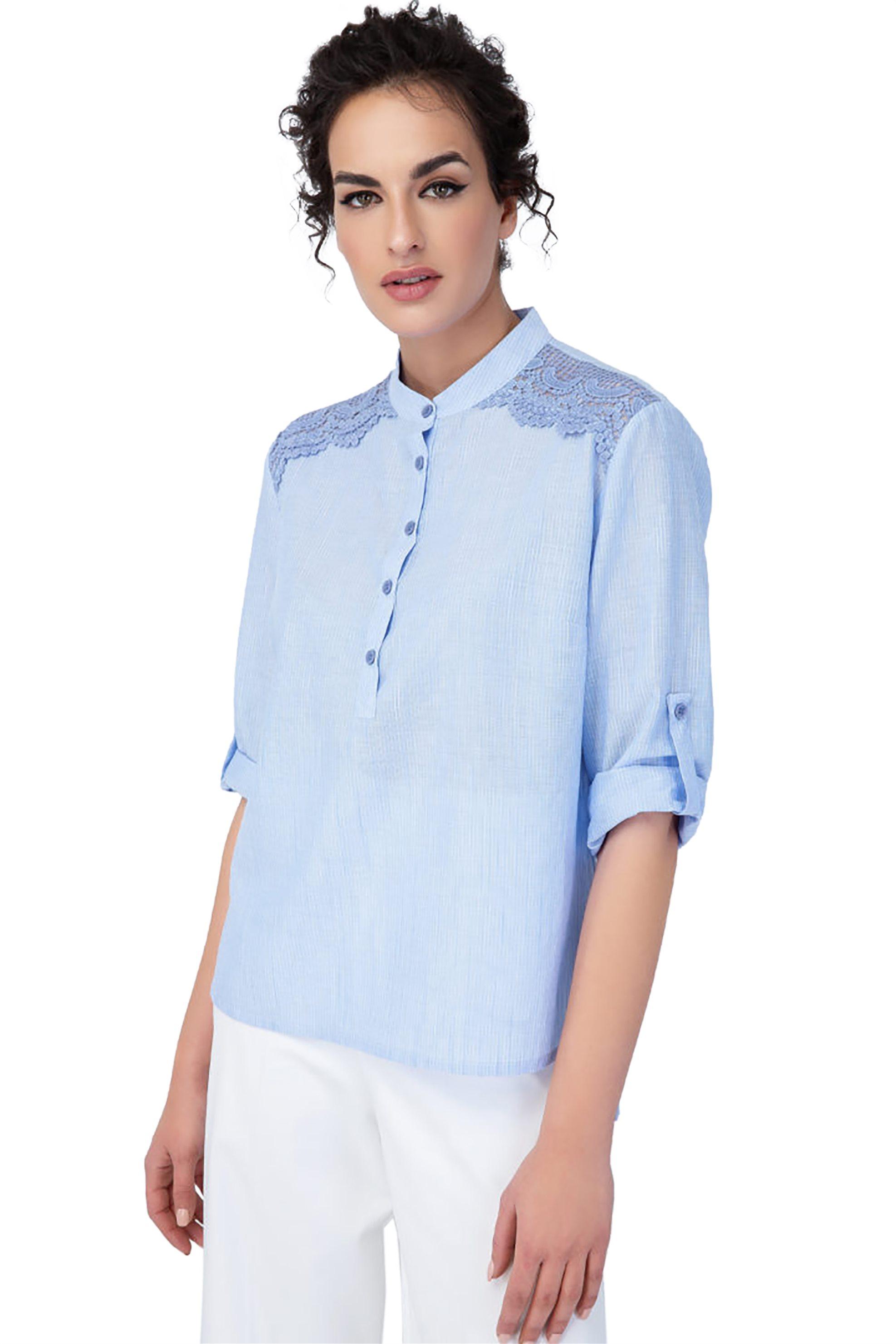 Billy Sabbado γυναικεία μπλούζα με δαντέλα στους ώμους - 0235584112 - Γαλάζιο γυναικα   ρουχα   tops   μπλούζες   casual