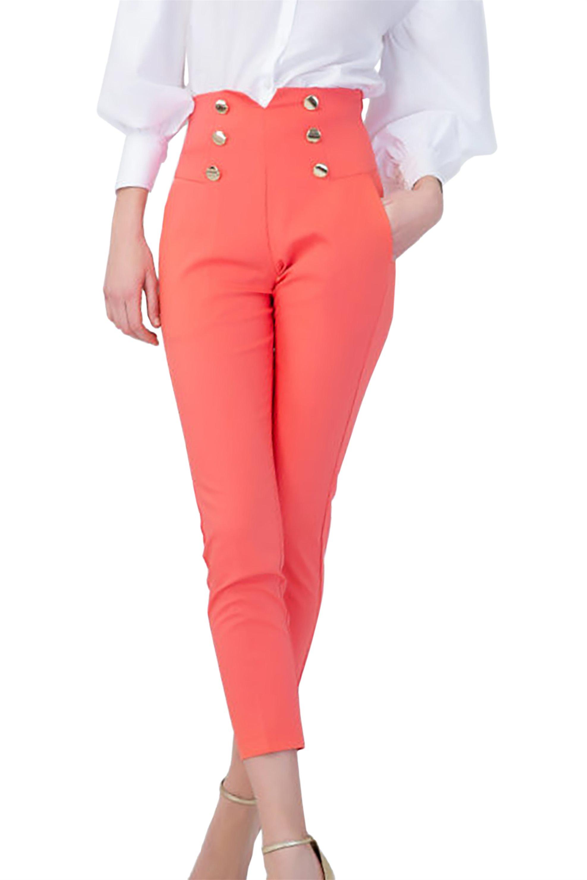 Billy Sabbado γυναικείο παντελόνι ψηλόμεσο με χρυσά κουμπιά - 292486286 - Κοραλί γυναικα   ρουχα   παντελόνια   cropped