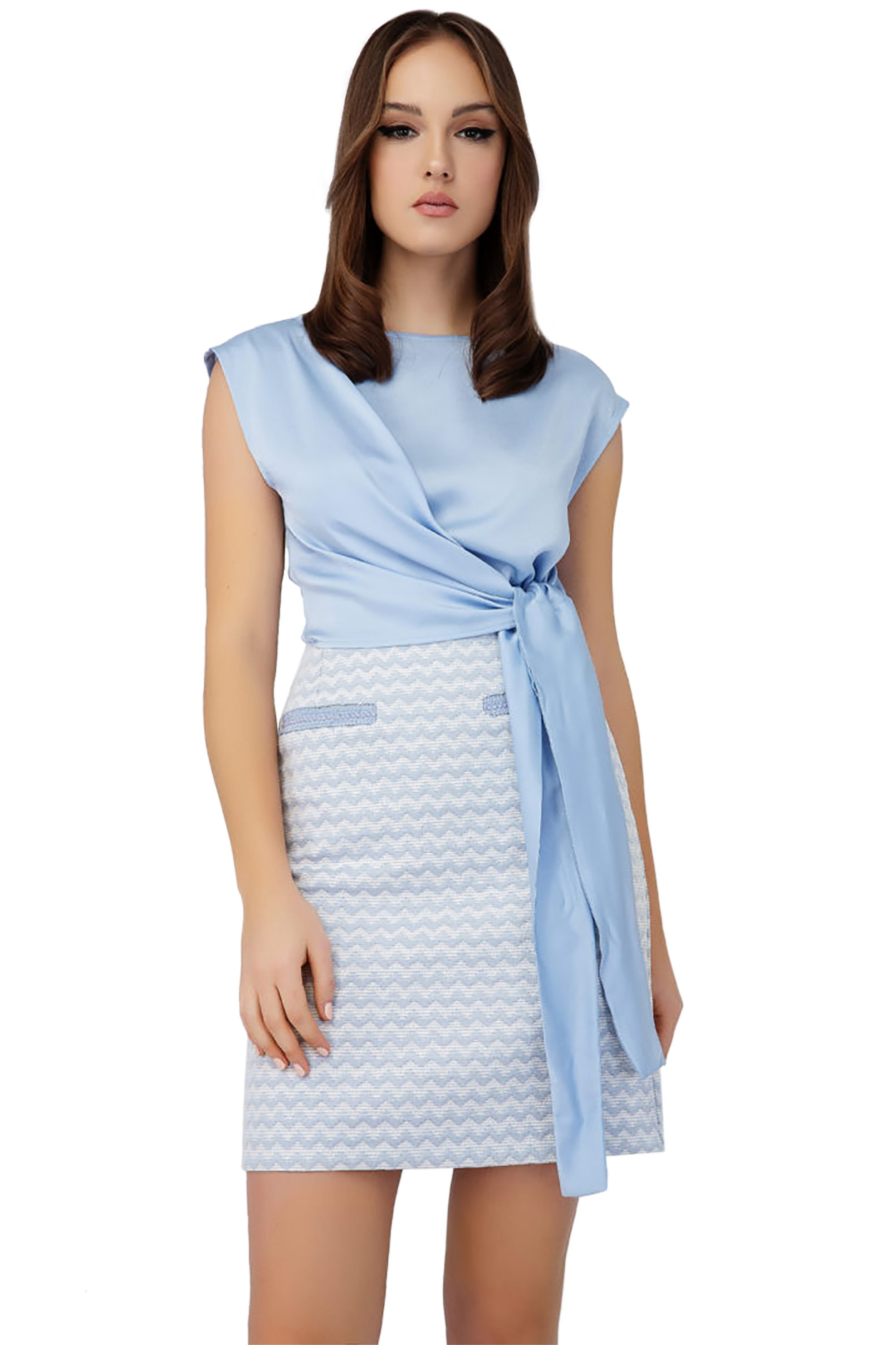 Billy Sabbado γυναικεία μπλούζα με δέσιμο - 0239217290 - Γαλάζιο γυναικα   ρουχα   tops   μπλούζες   βραδυνές