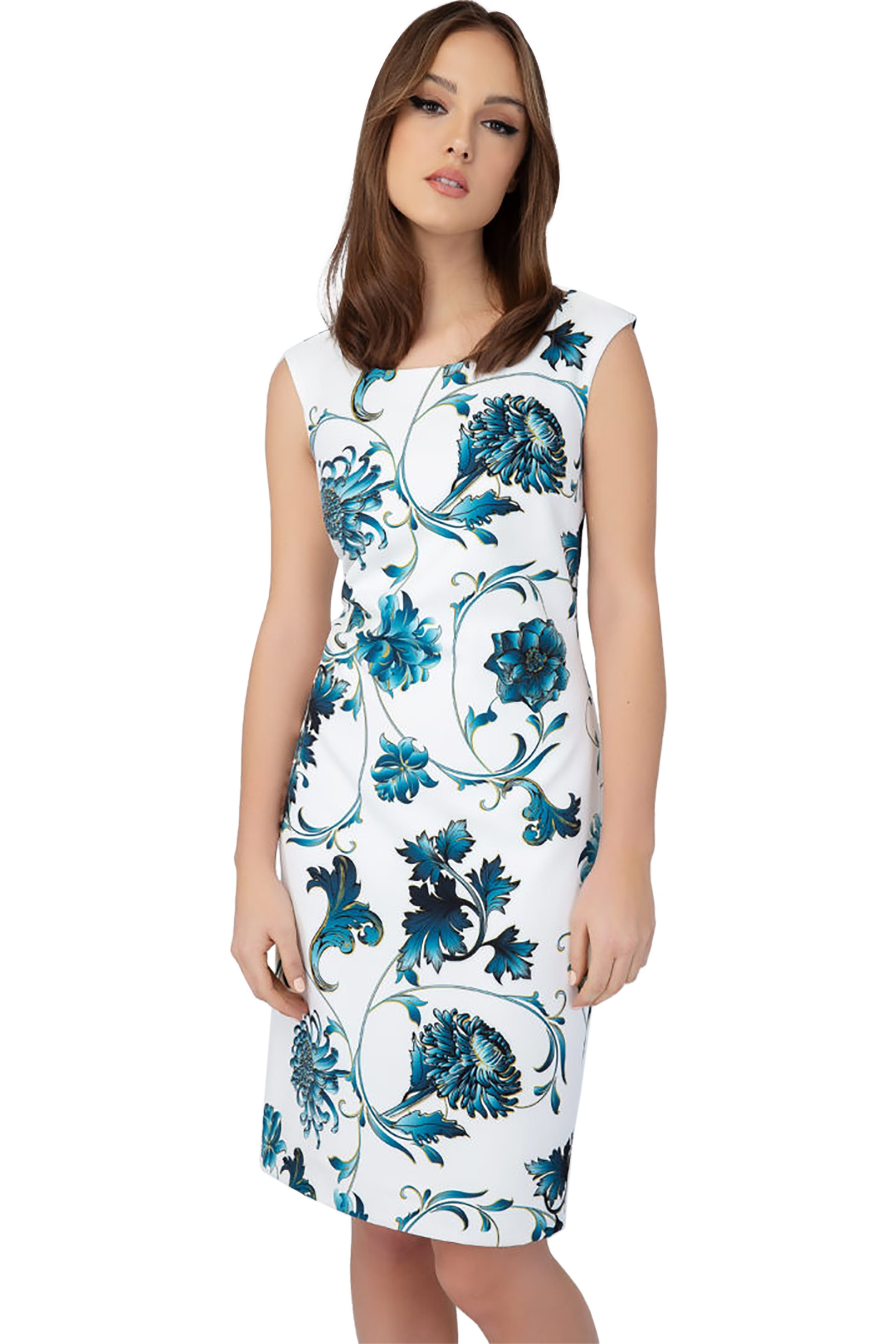 Billy Sabbado γυναικείο αμάνικο pencil φόρεμα με floral prin - 0208907166 - Λευκ γυναικα   ρουχα   φορέματα   mini φορέματα