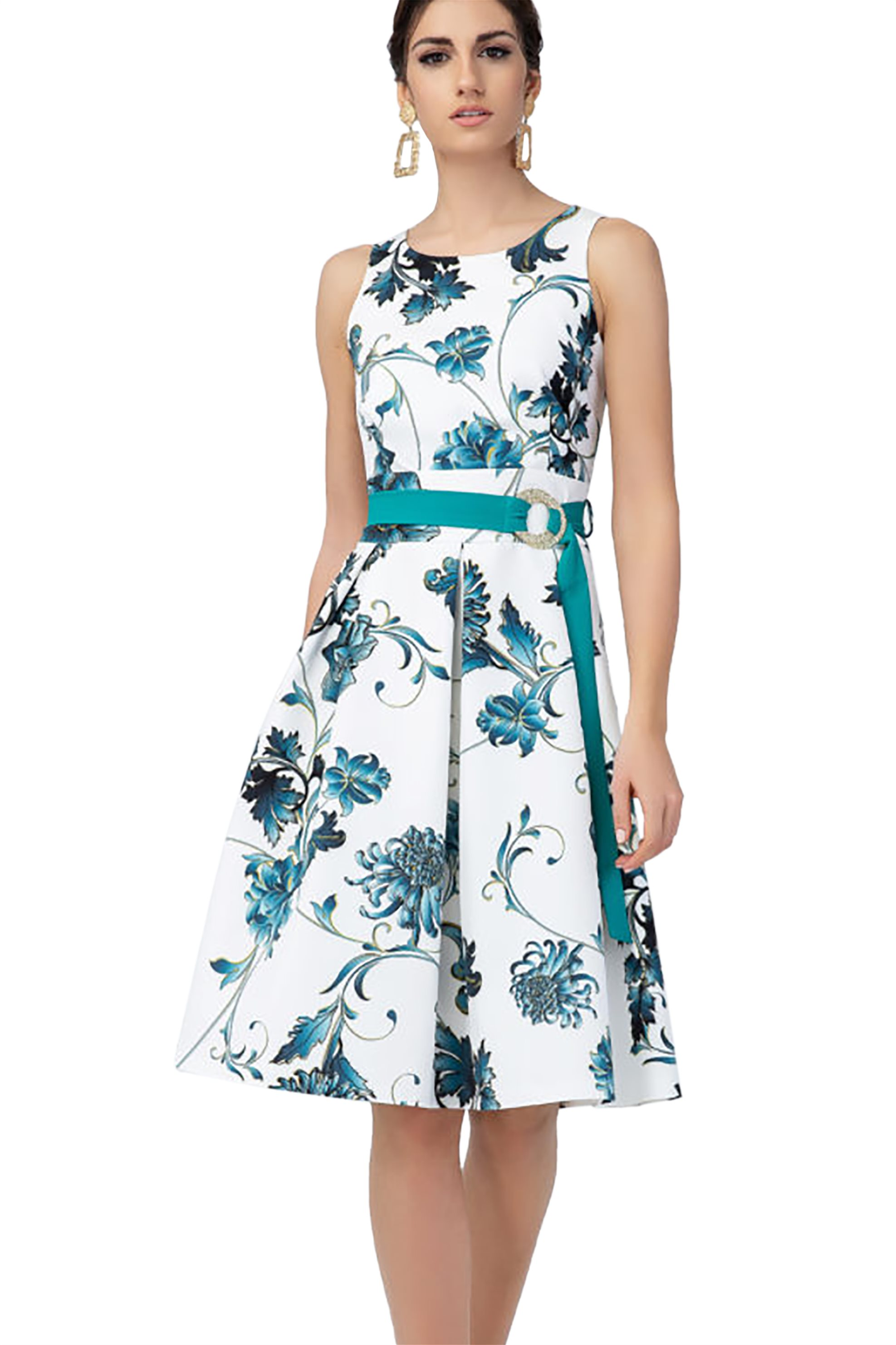 Billy Sabbado γυναικείο αμάνικο φόρεμα με floral prin και ζώνη - 0208970166 - Λε γυναικα   ρουχα   φορέματα   mini φορέματα