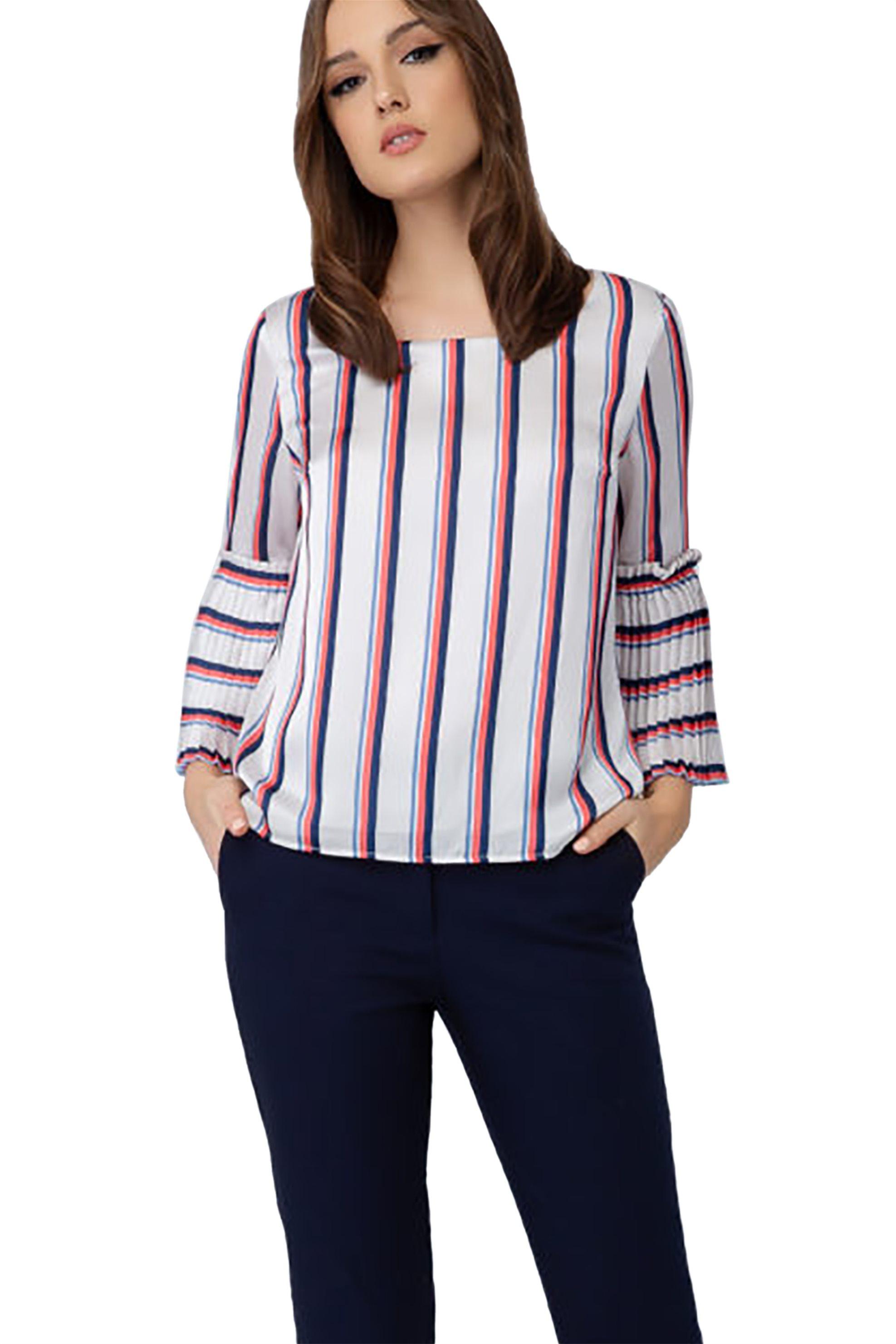 Billy Sabbado γυναικεία ριγέ μπλούζα με πλισέ μανίκι - 0234218103 - Λευκό γυναικα   ρουχα   tops   μπλούζες   casual
