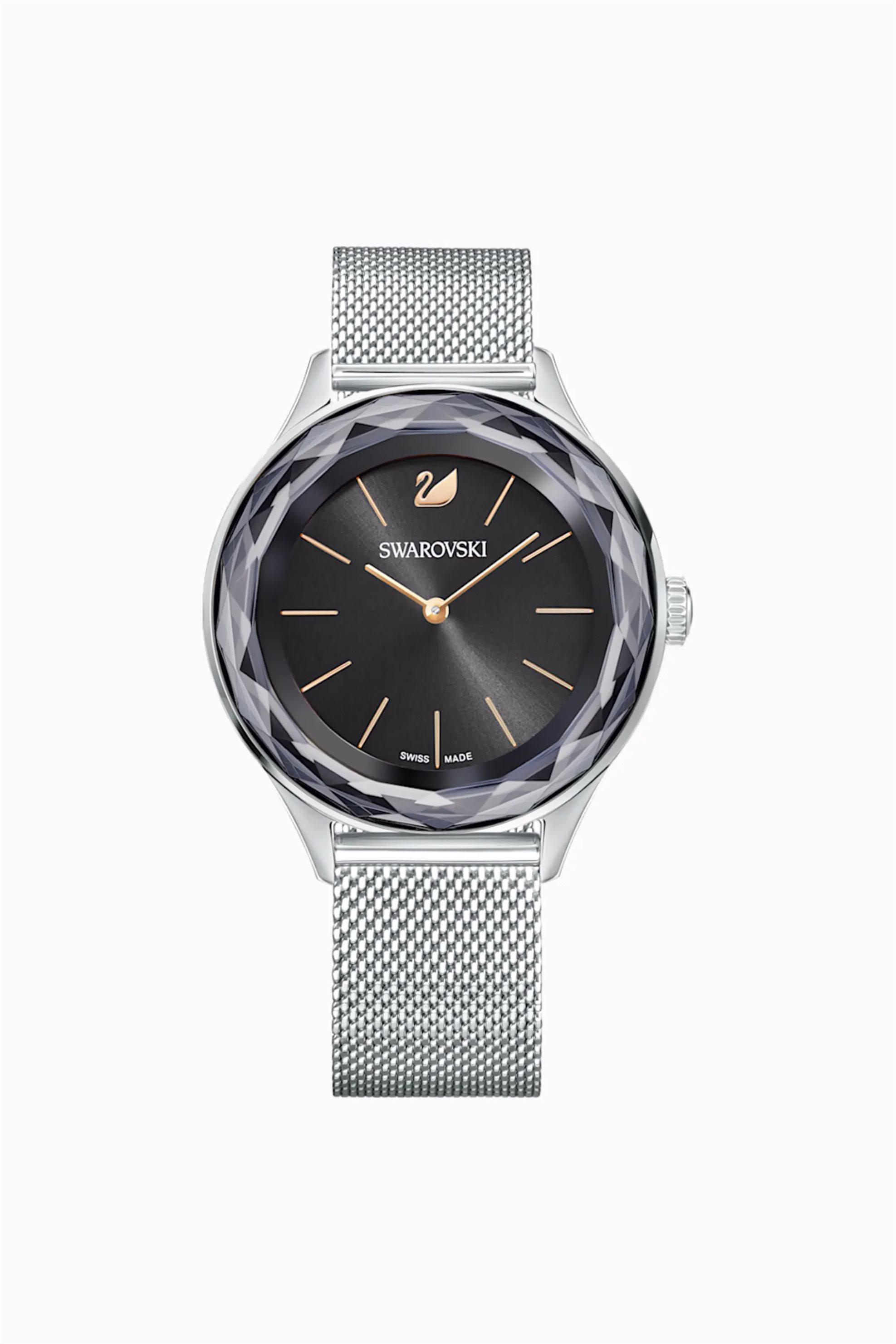 Swarovski Octea Nova Watch, Milanese bracelet, Black, Stainless steel - 5430420 - Μαύρο