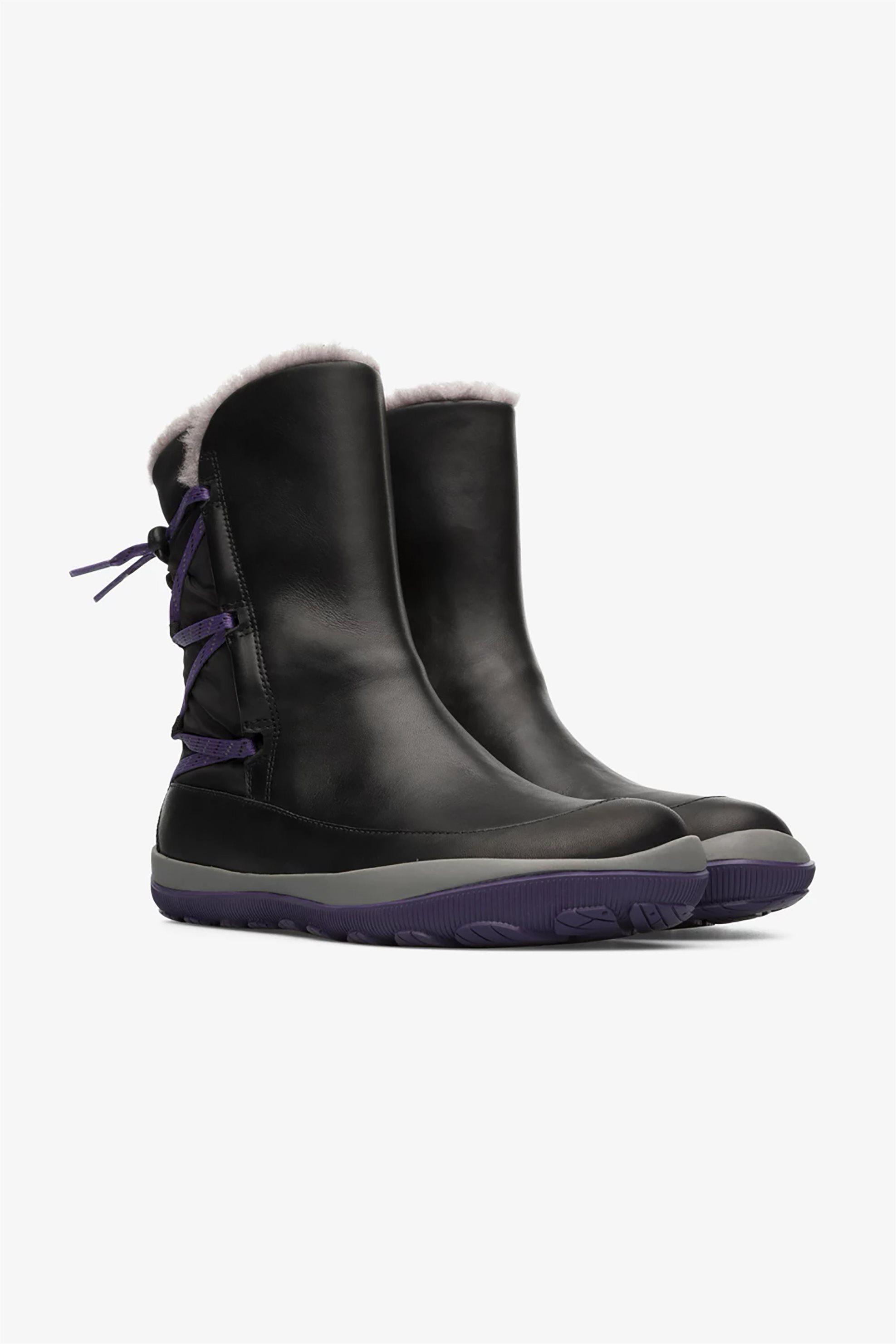 Camper γυναικείες μπότες με γούνινη επένδυση «Peu Pista» – K400386-001 – Μαύρο