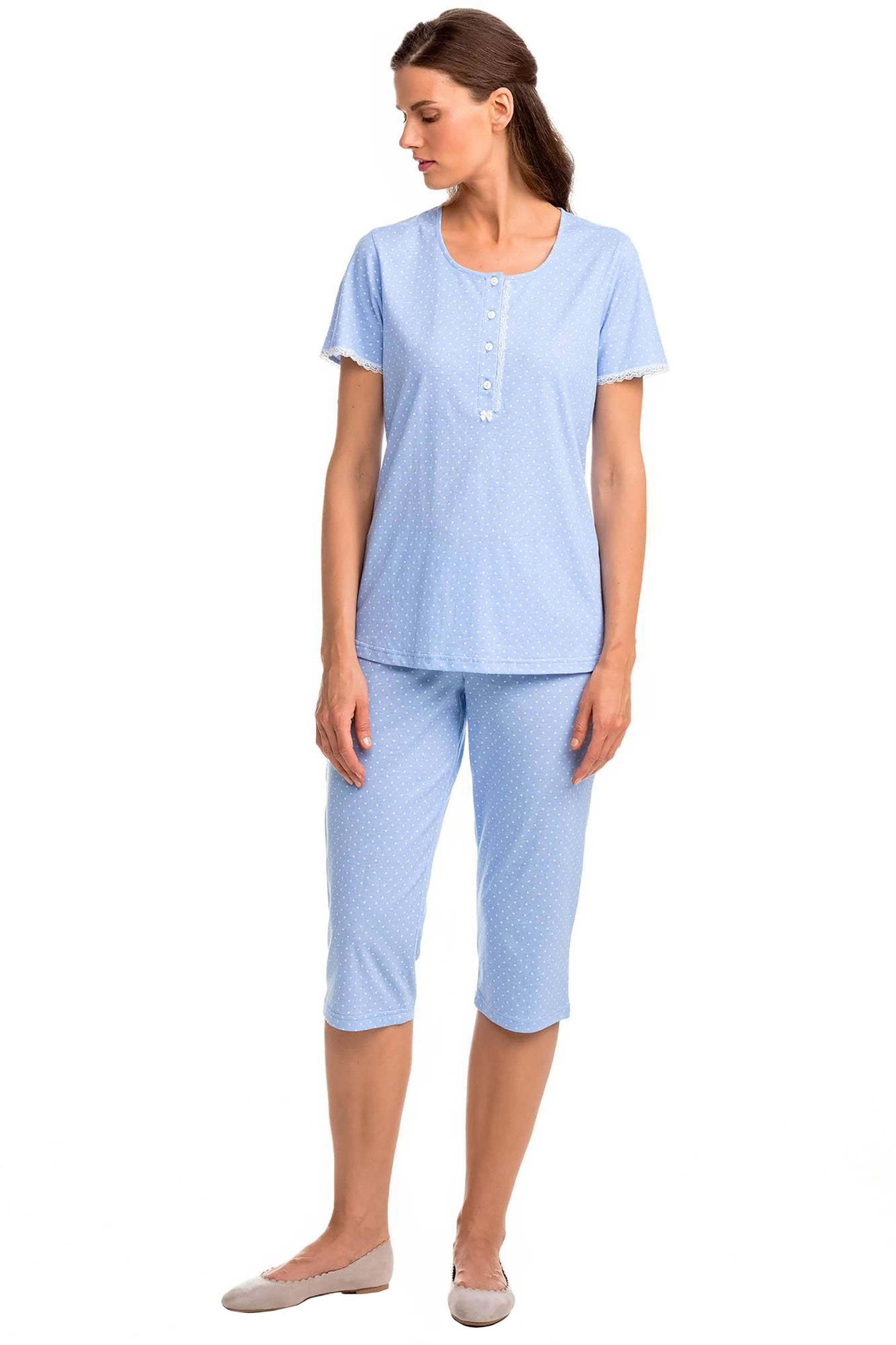 Vamp γυναικεία πιτζάμα με μικροσχέδιο πουά - 14377 - Γαλάζιο