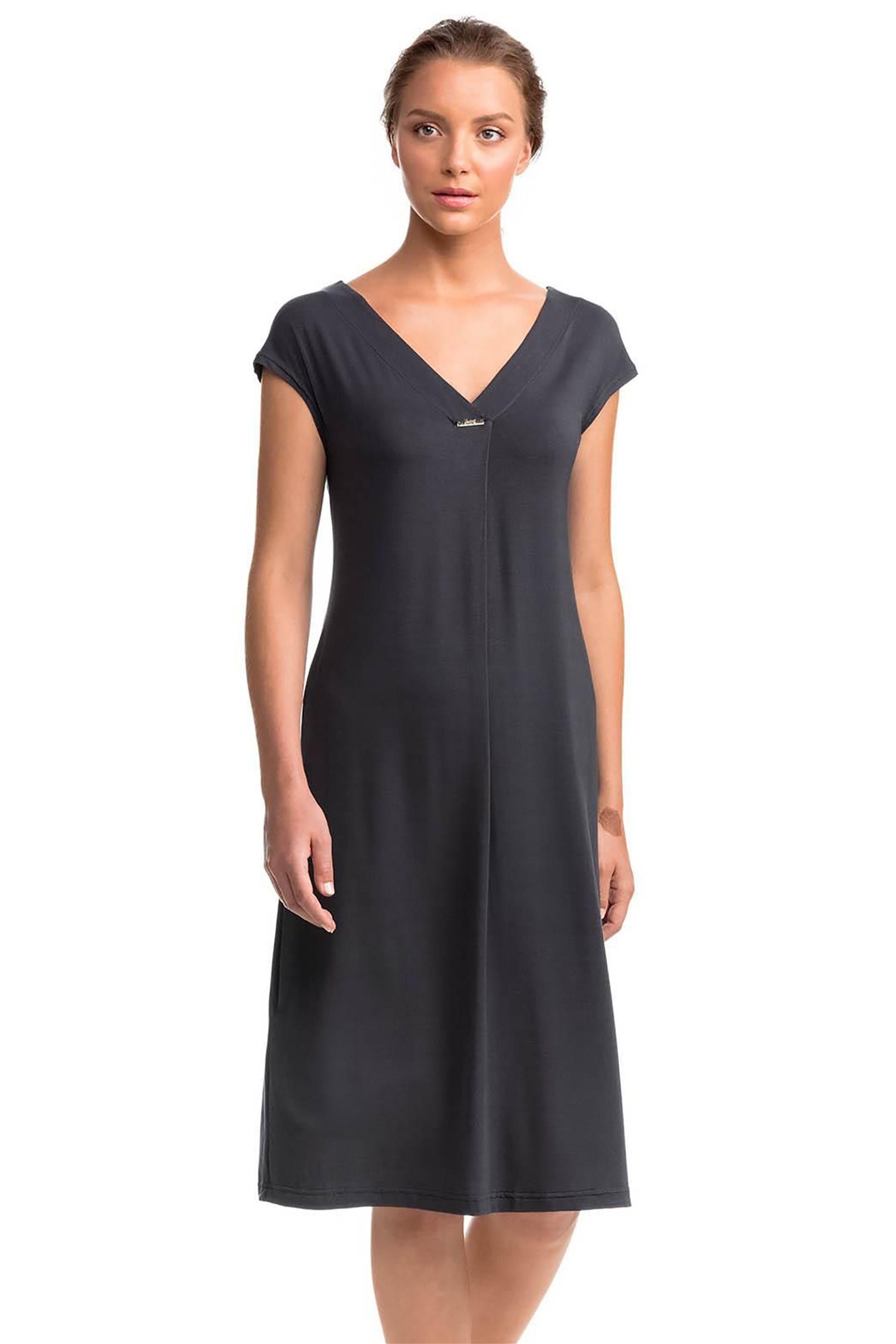 Vamp γυναικείo φόρεμα παραλίας μονόχρωμο - 14521 - Ανθρακί