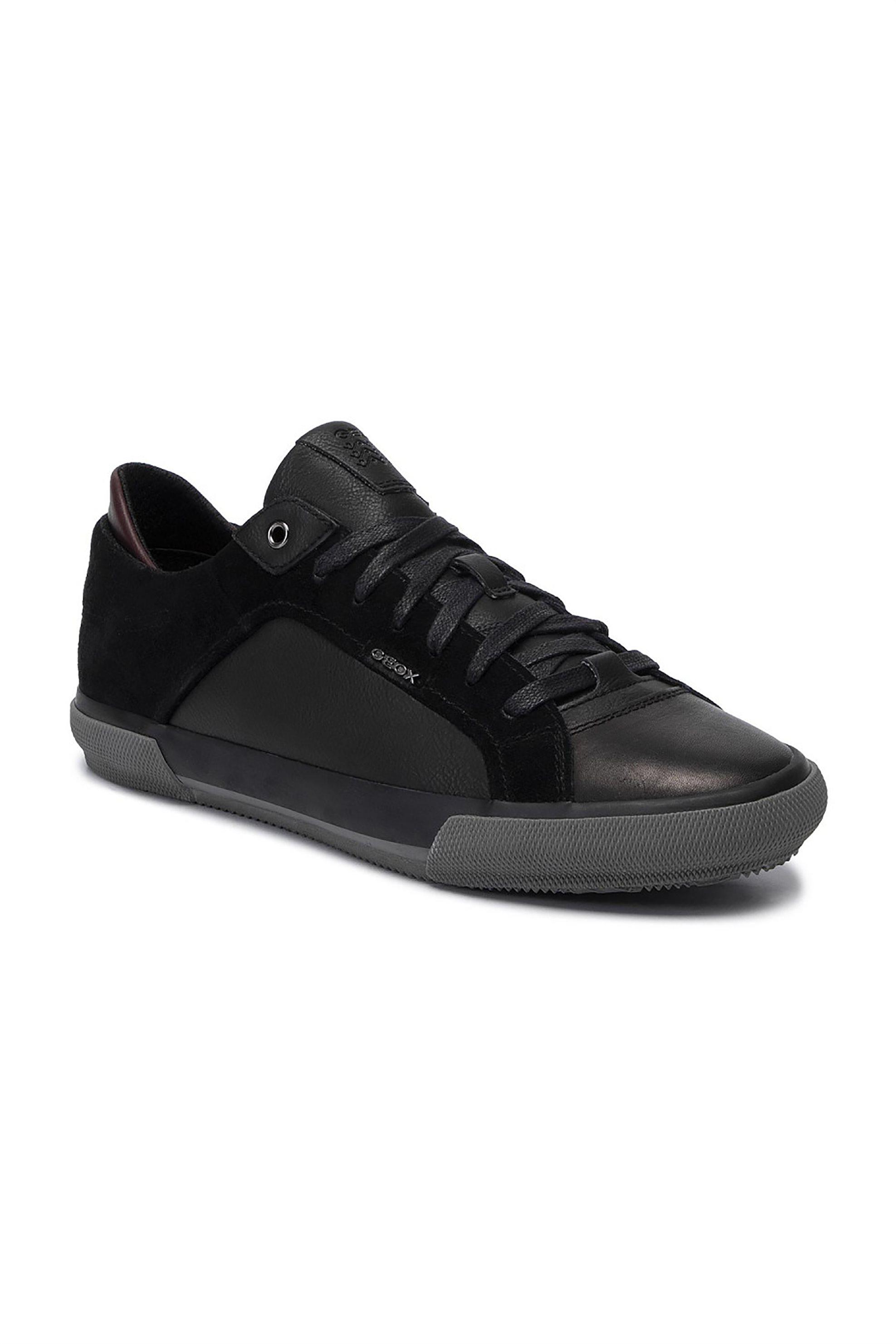 Geox ανδρικά sneakers με suede λεπτομέρειες Kaven – U946MB – Μαύρο