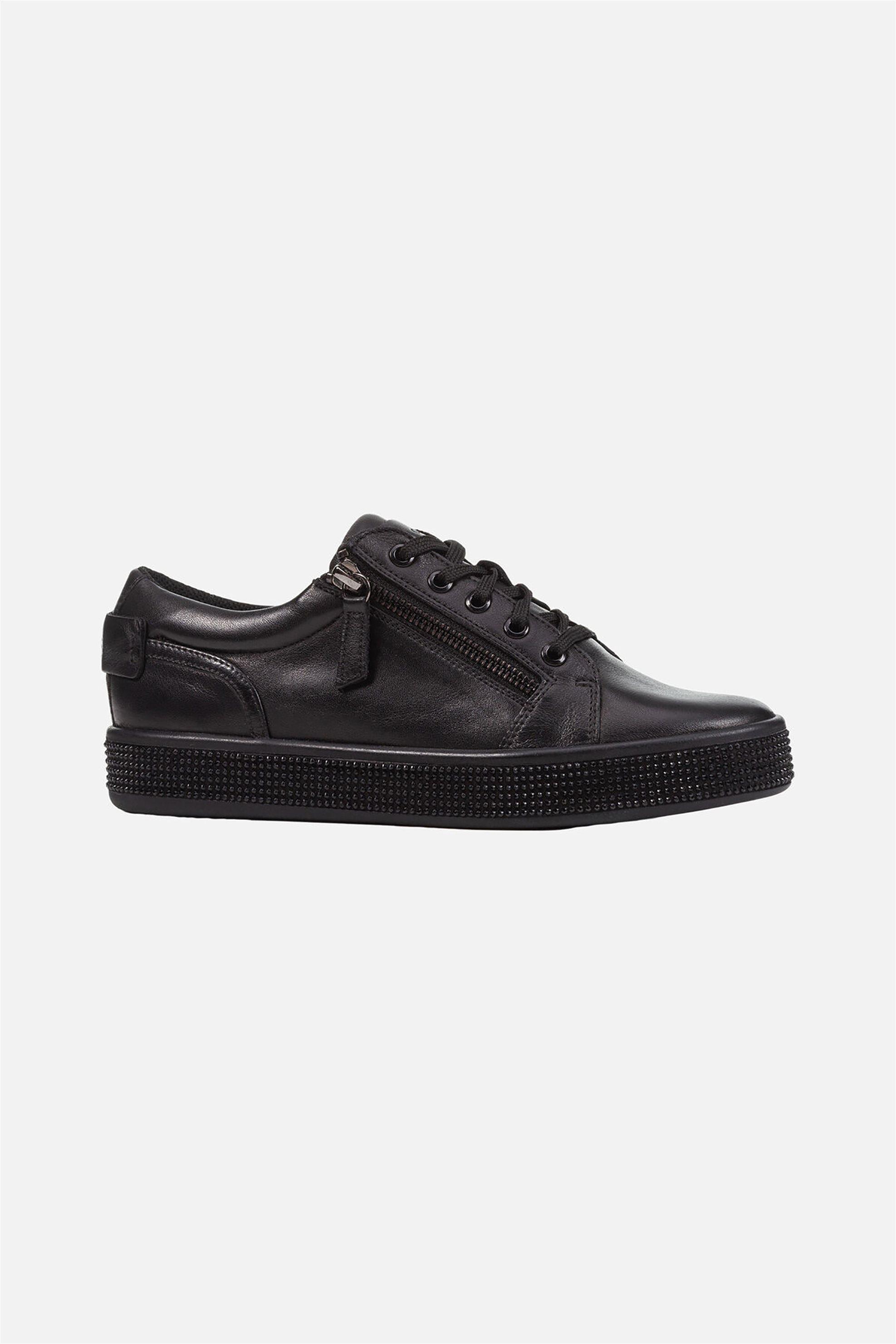 Geox γυναικεία sneakers με διακοσμητικά στρας ''Leelu'' - D04FFD00085C9999 - Μαύρο