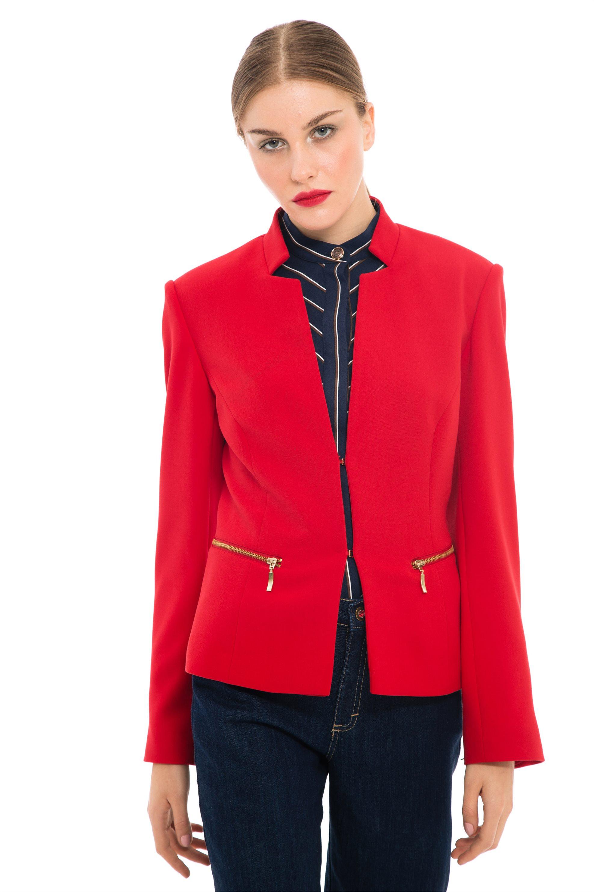 Lucifair γυναικείo σακάκι με ανάποδο πέτο και χρυσά φερμουάρ - 41237 - Κόκκινο γυναικα   ρουχα   πανωφόρια   μπουφάν   σακάκια   σακάκια
