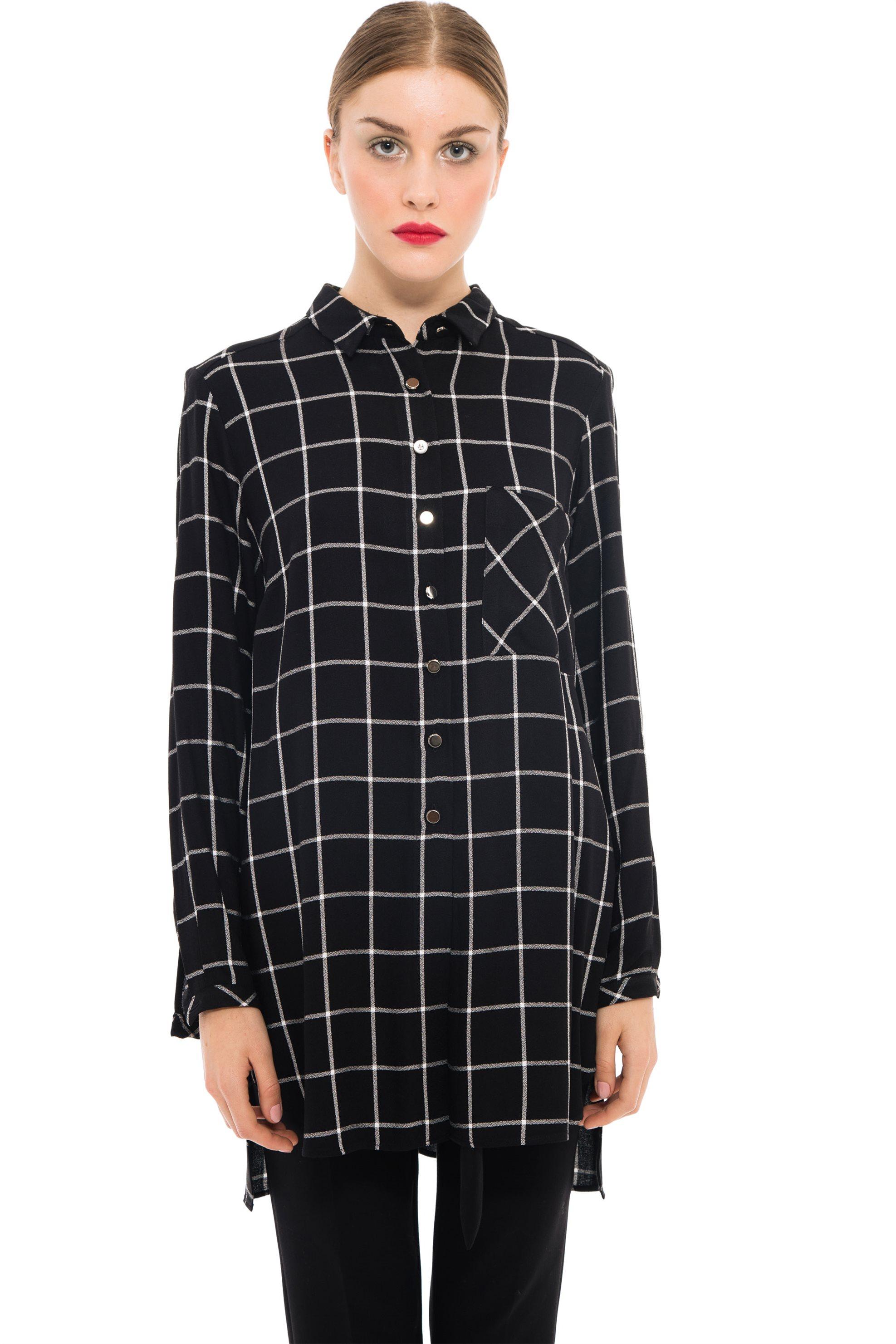 Lucifair γυναικείo μακρύ καρό πουκάμισο - 61419 - Μαύρο γυναικα   ρουχα   tops   πουκάμισα   casual