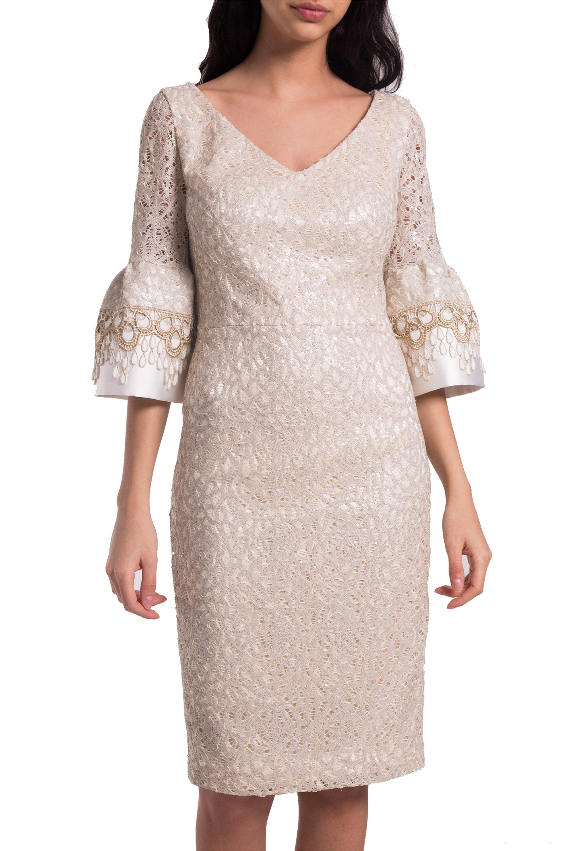 dbd9f0a34e1b Γυναικείο φόρεμα σε ίσια γραμμή με δαντελένια μανίκια Jupe - 21.181.J05.009  - Μπεζ