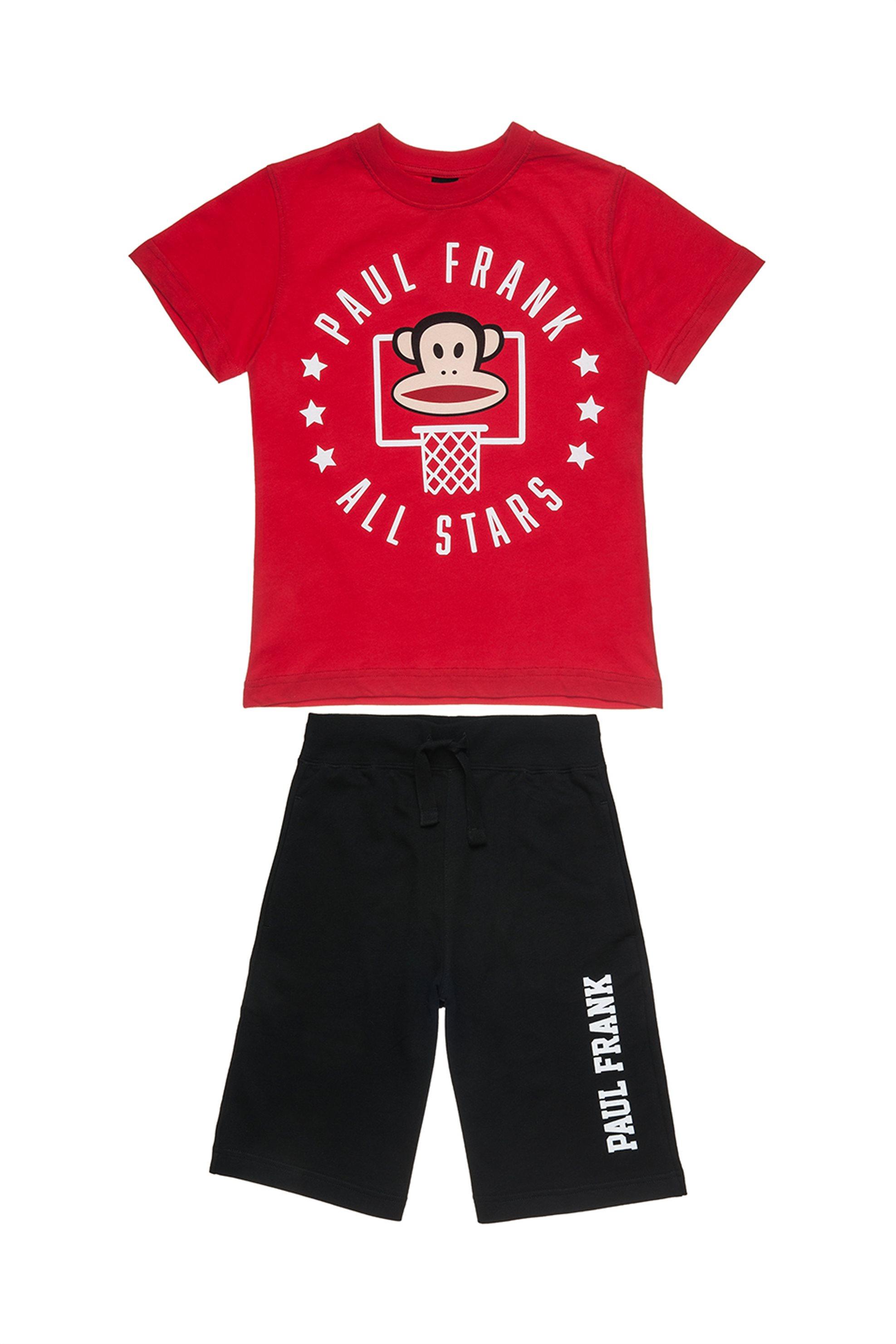 Παιδικό σετ T-shirt print και βερμούδα Paul Frank Collection - 00170337 - Κόκκιν παιδι   αγορι   4 14 ετων   σετ ρούχων