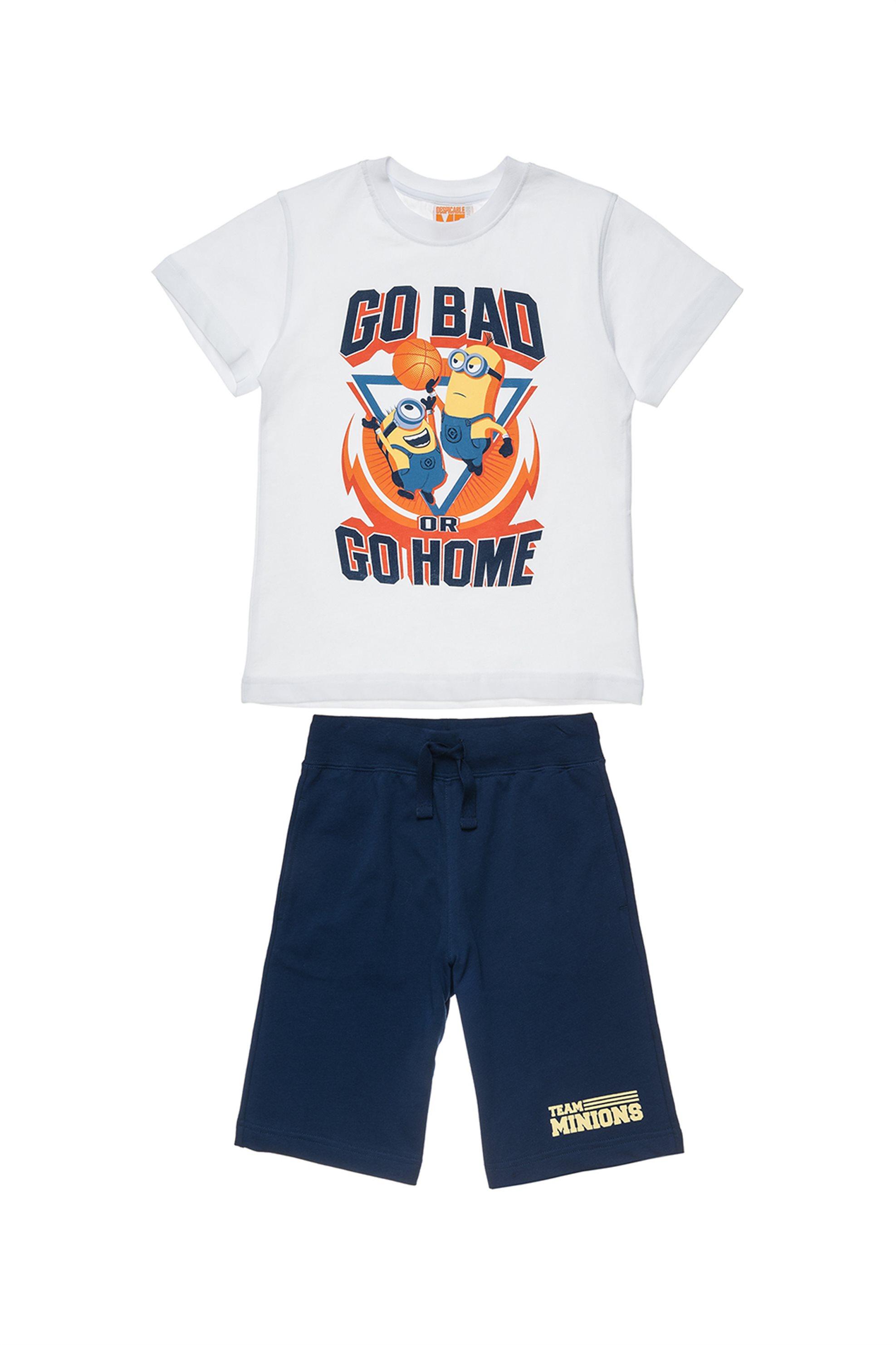 Παιδικό σετ T-shirt print και βερμούδα (3 -12 ετών) Minions Collection - 0017035 παιδι   αγορι   4 14 ετων   σετ ρούχων