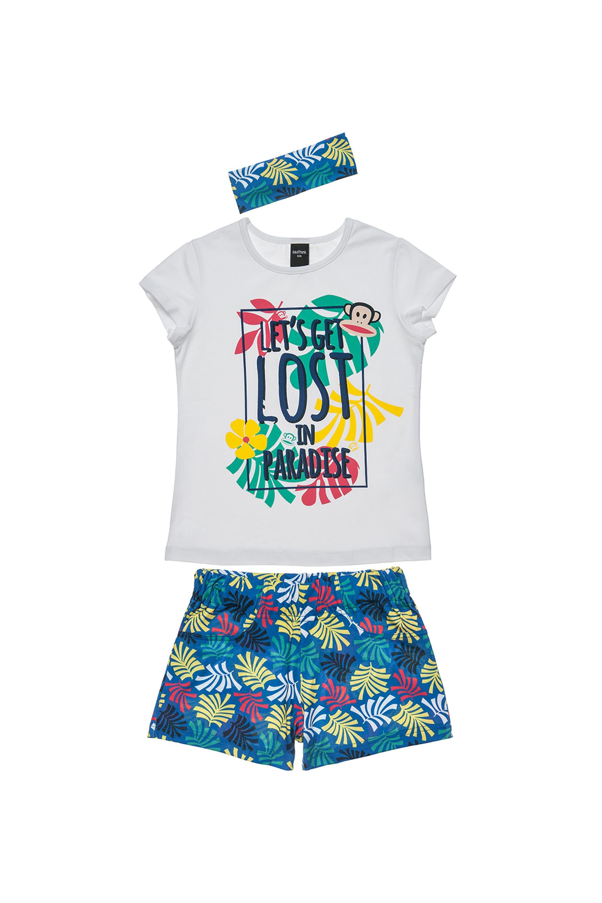 Παιδικό σετ T-shirt, βερμούδα και κορδέλα μαλλιών (6 - 14 ετών) Paul Frank - 001 παιδι   κοριτσι   4 14 ετων   σετ ρούχων