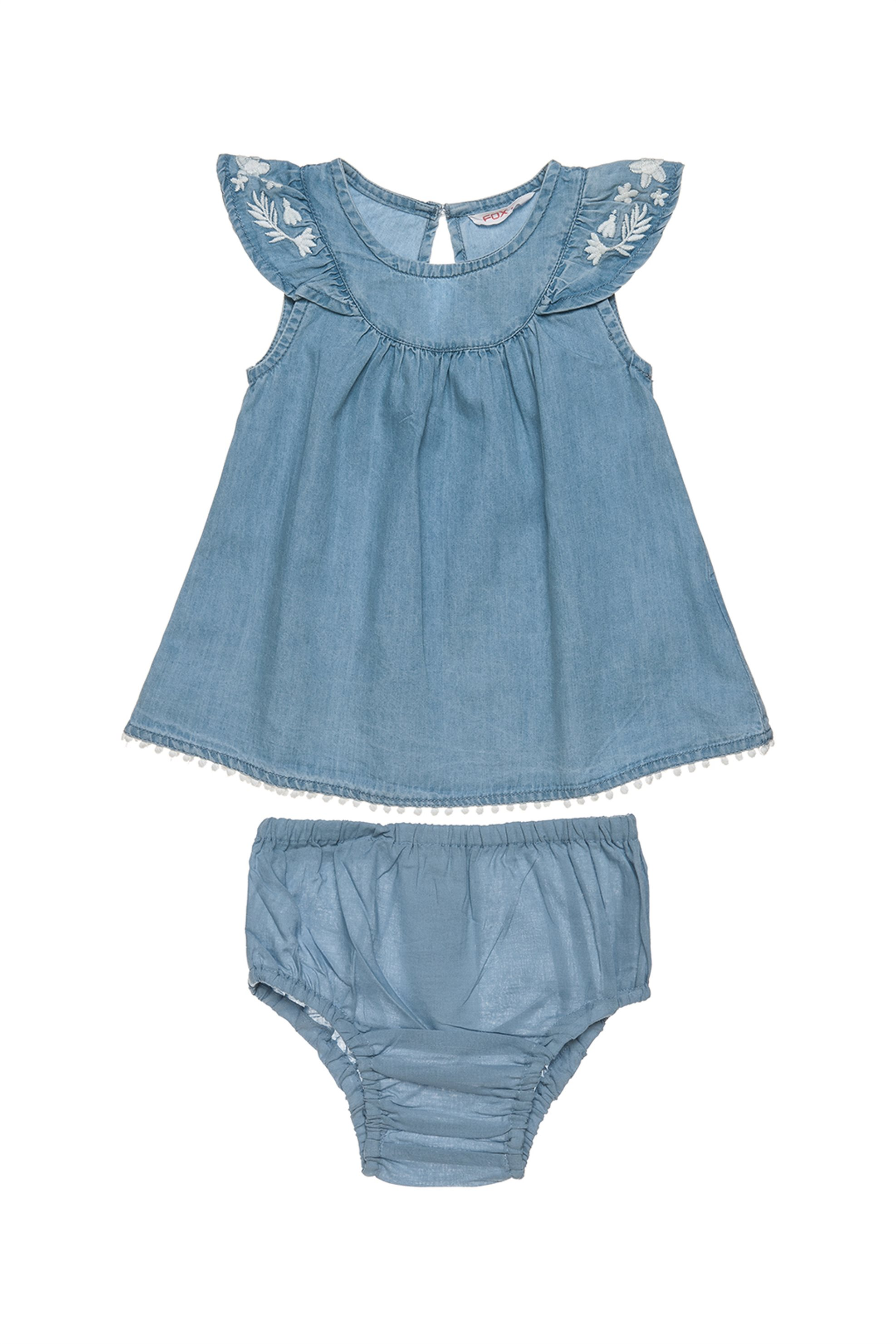Βρεφικό φόρεμα αμάνικο τζην με κέντημα και ασορτί βρακάκι Alouette - 00241268 -  παιδι   βρεφικα κοριτσι   0 3 ετων   ρούχα   φορέματα   φούστες
