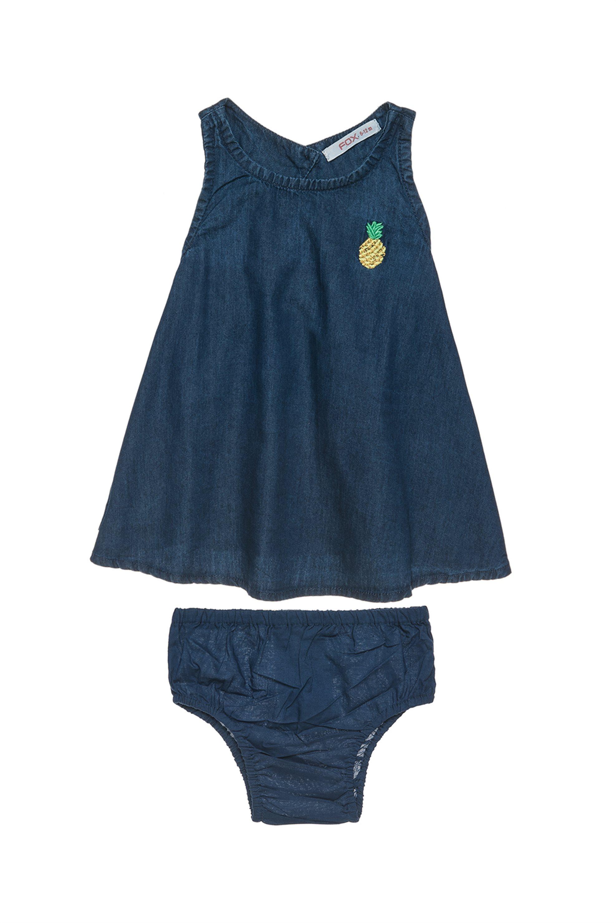 Βρεφικό φόρεμα αμάνικο τζην με κέντημα και ασορτί βρακάκι Alouette - 00241269 -  παιδι   βρεφικα κοριτσι   0 3 ετων   ρούχα   φορέματα   φούστες