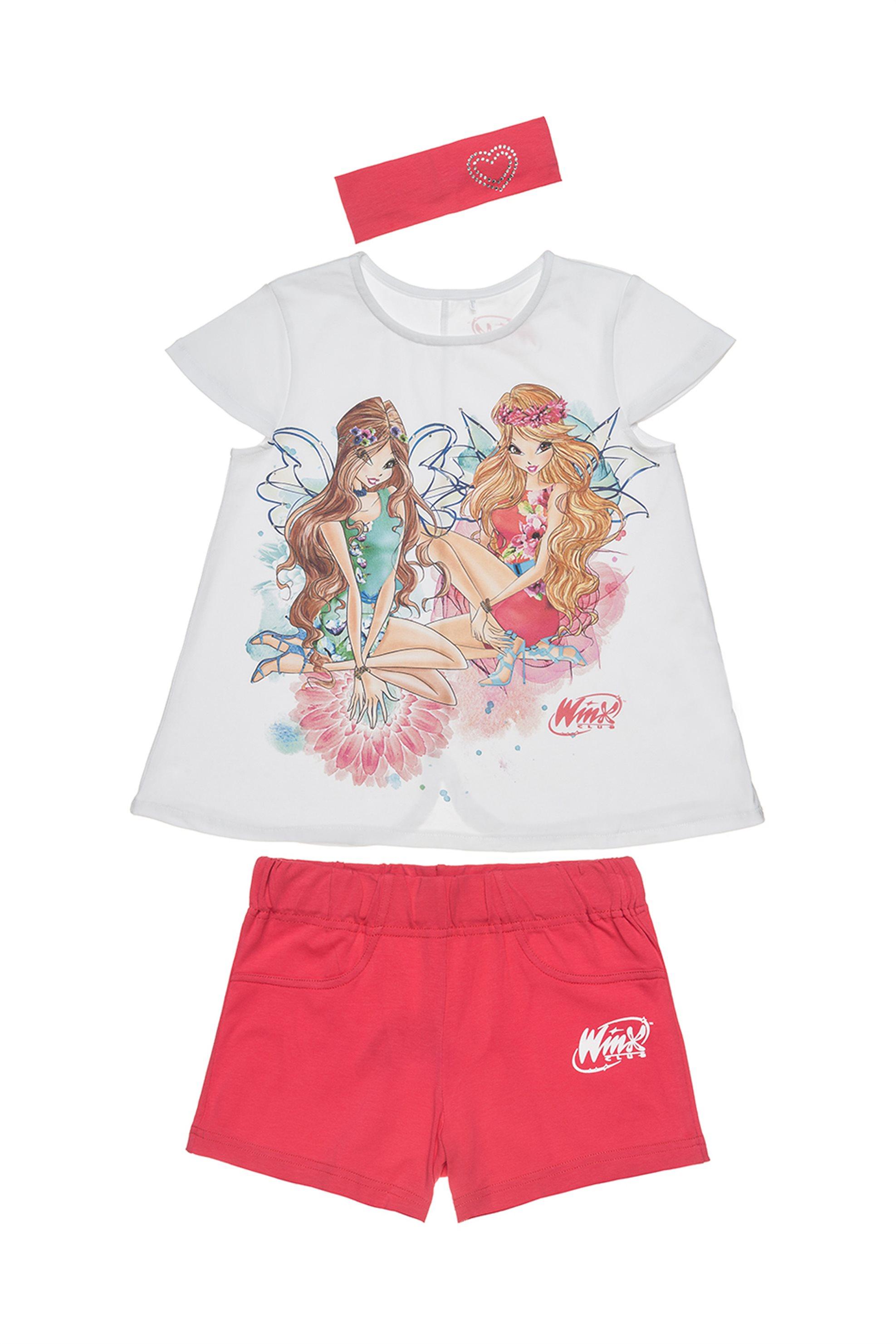 Παιδικό σετ T-shirt με print, βερμούδα και κορδέλα μαλλιών (6 - 12 ετών) Winx Co παιδι   κοριτσι   4 14 ετων   σετ ρούχων