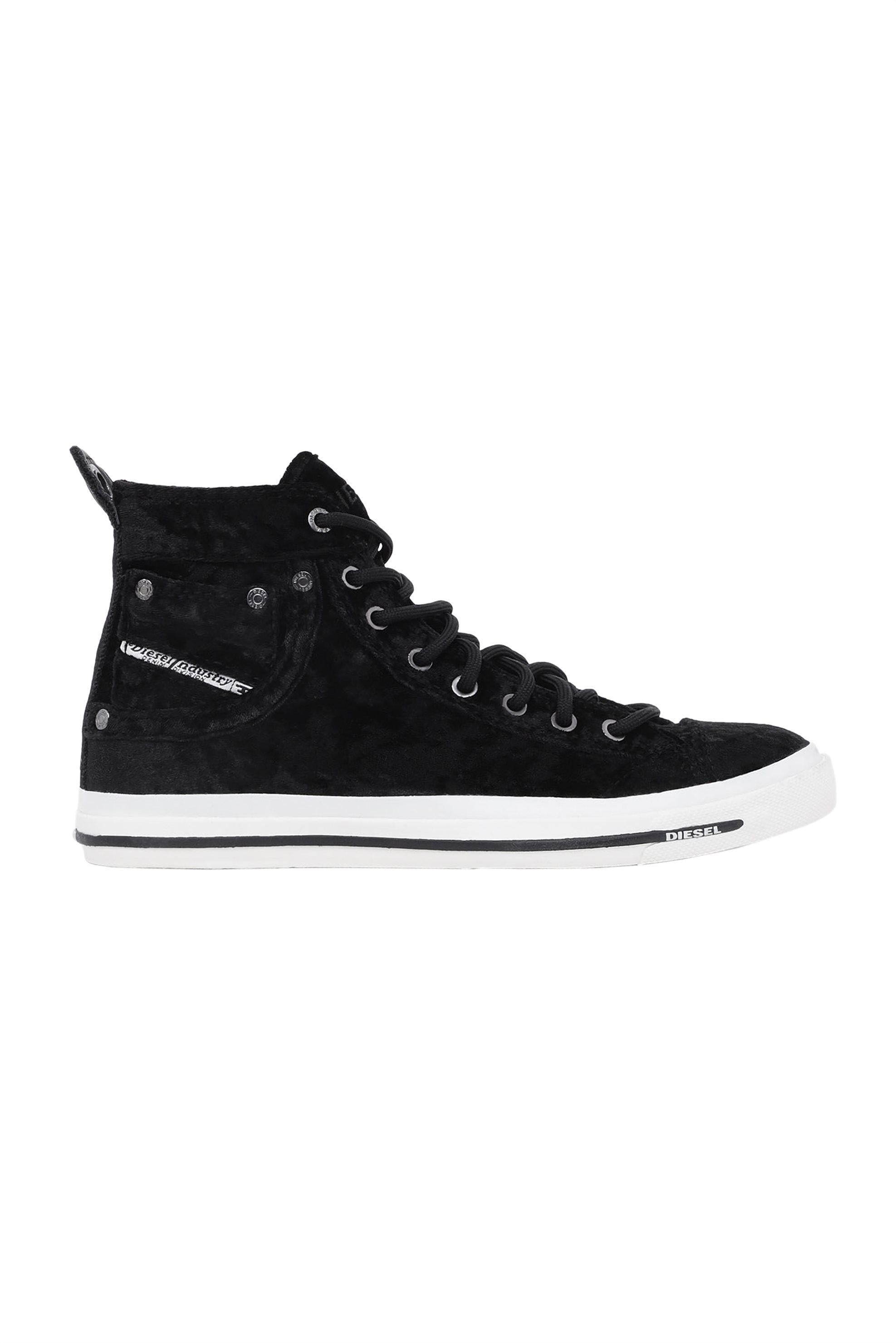 90572f90758 Diesel γυναικεία βελούδινα sneakers με κορδόνια Εxposure - Y00638 P2054 -  Μαύρο