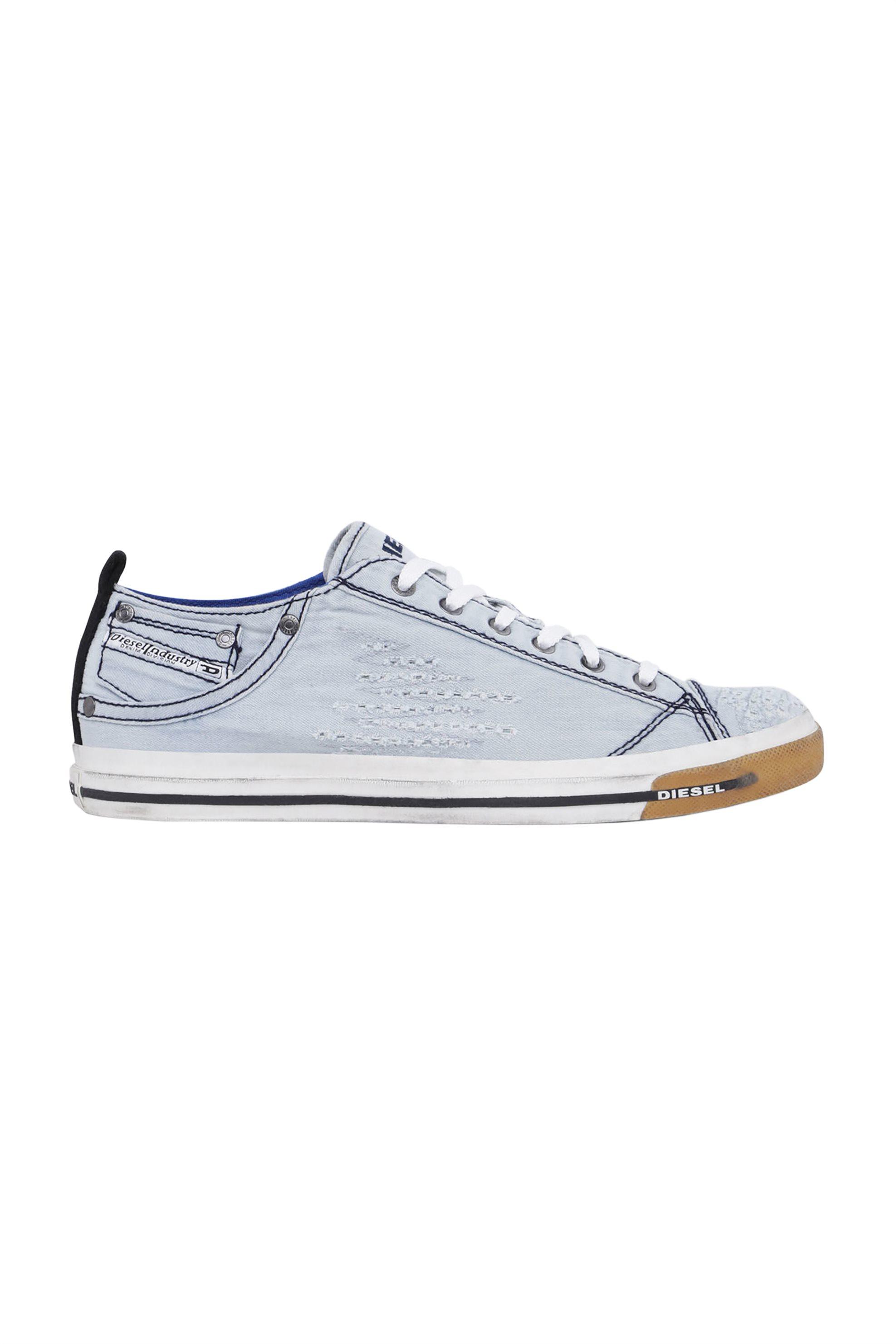 Notos Diesel ανδρικά sneakers denim Exposure Low – Y00321 P2055 – Γαλάζιο 52ec990a122