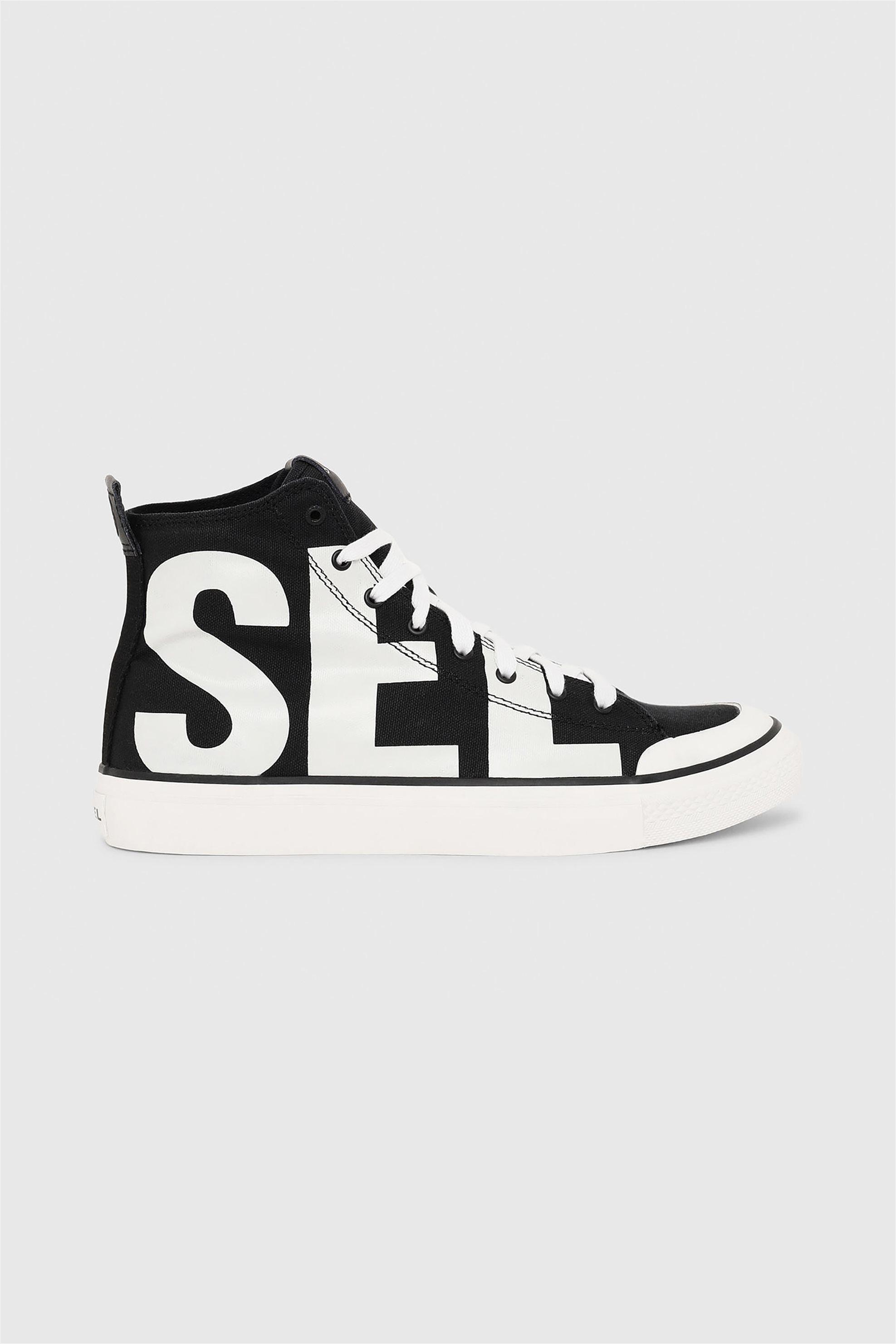 Diesel ανδρικά sneakers μποτάκια με logo print – Y01993 P2468 – Μαύρο