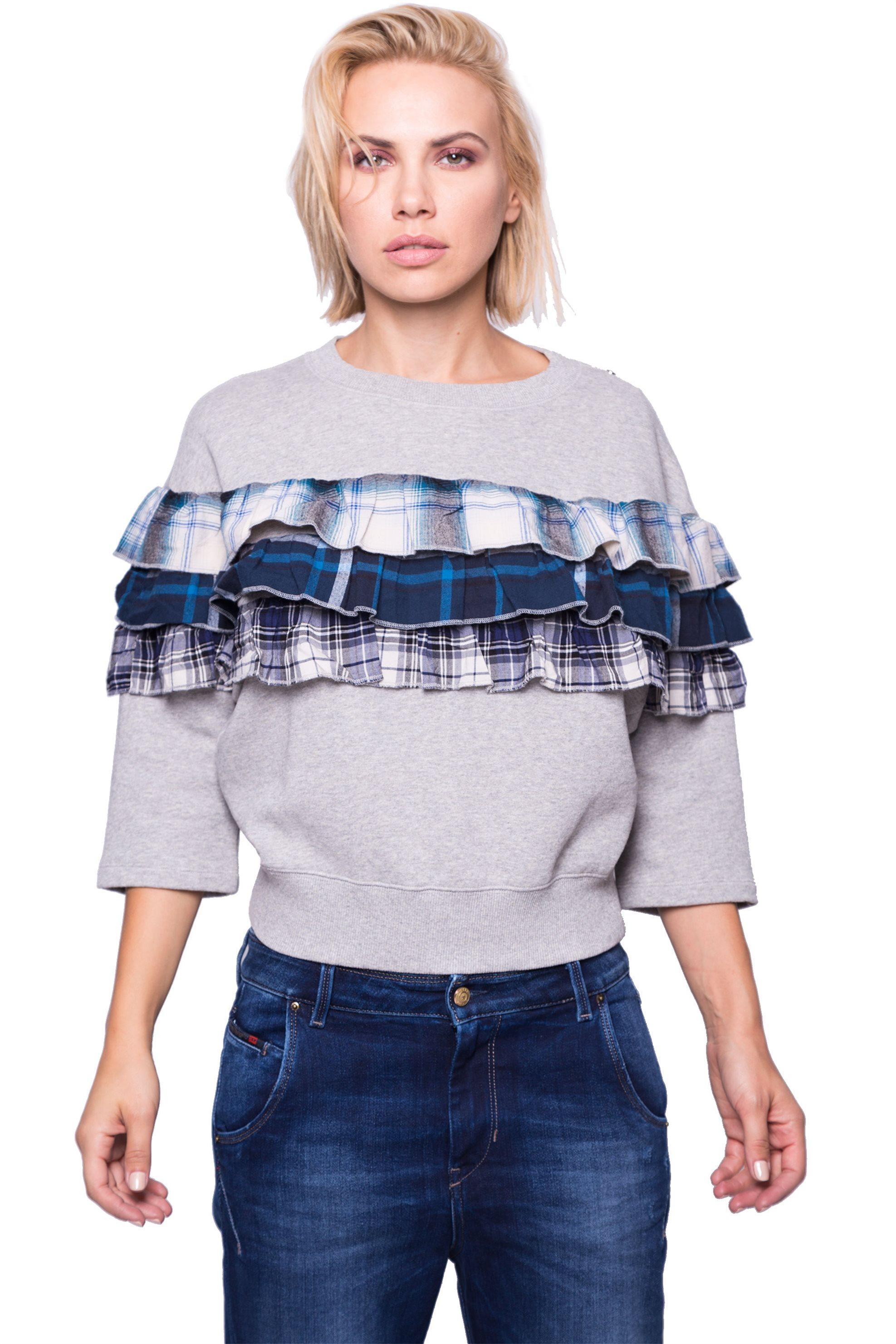 Γυναικεία μπλούζα Diesel - 00SZJF 0QAQS - Γκρι γυναικα   ρουχα   tops   μπλούζες   φούτερ μπλούζες   ζακέτες   casual