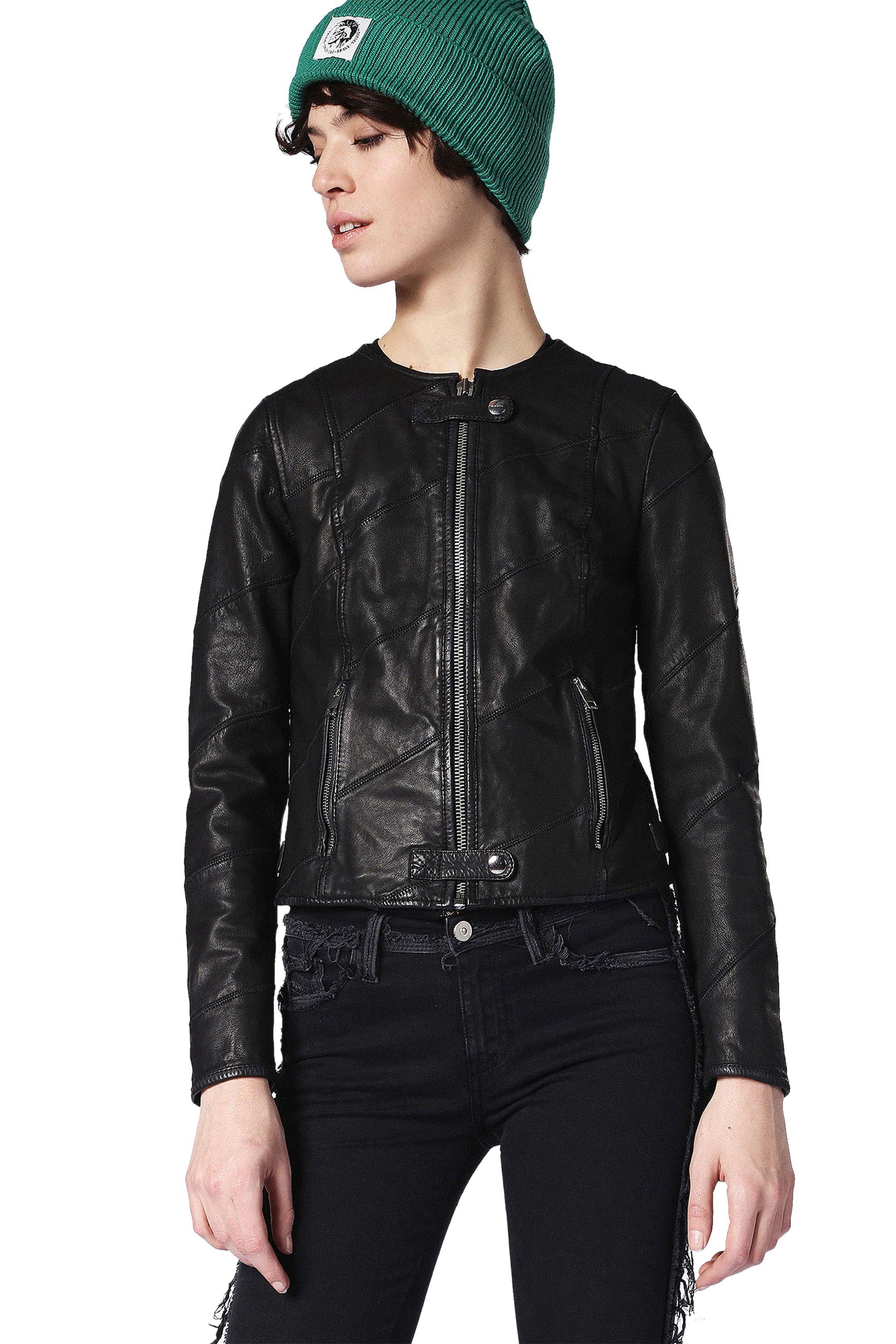Γυναικείο jacket Diesel - 00S9NS 0CAQT - Μαύρο γυναικα   ρουχα   πανωφόρια   μπουφάν   σακάκια   δερμάτινα   faux δέρμα   biker
