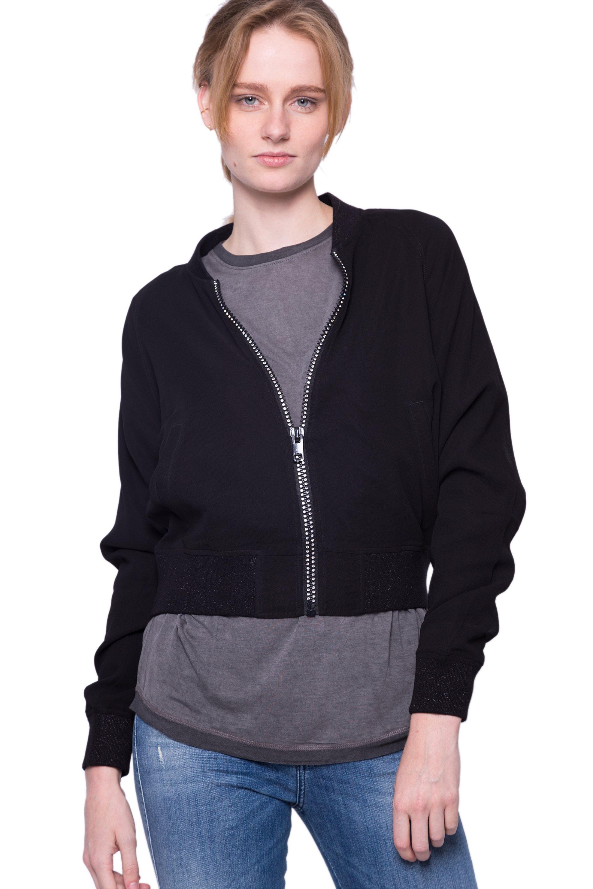 Γυναικείo bomber jacket Diesel - 00S7JX 0AARB - Μαύρο γυναικα   ρουχα   πανωφόρια   μπουφάν   σακάκια   bomber jackets