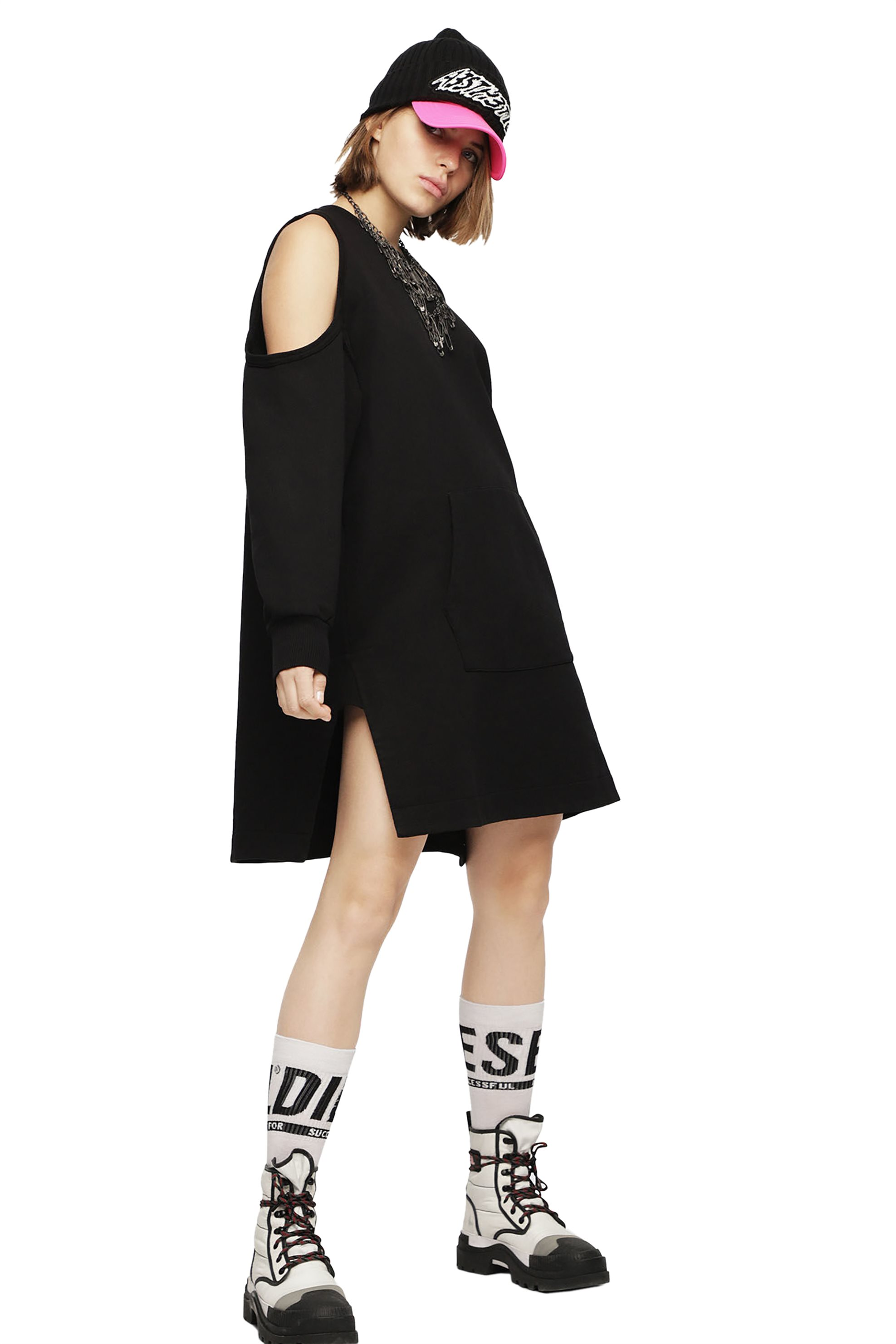 2e61d75c561d Notos Diesel γυναικείο oversized φόρεμα-φούτερ Ema - 00SM7D 0JASE - Μαύρο