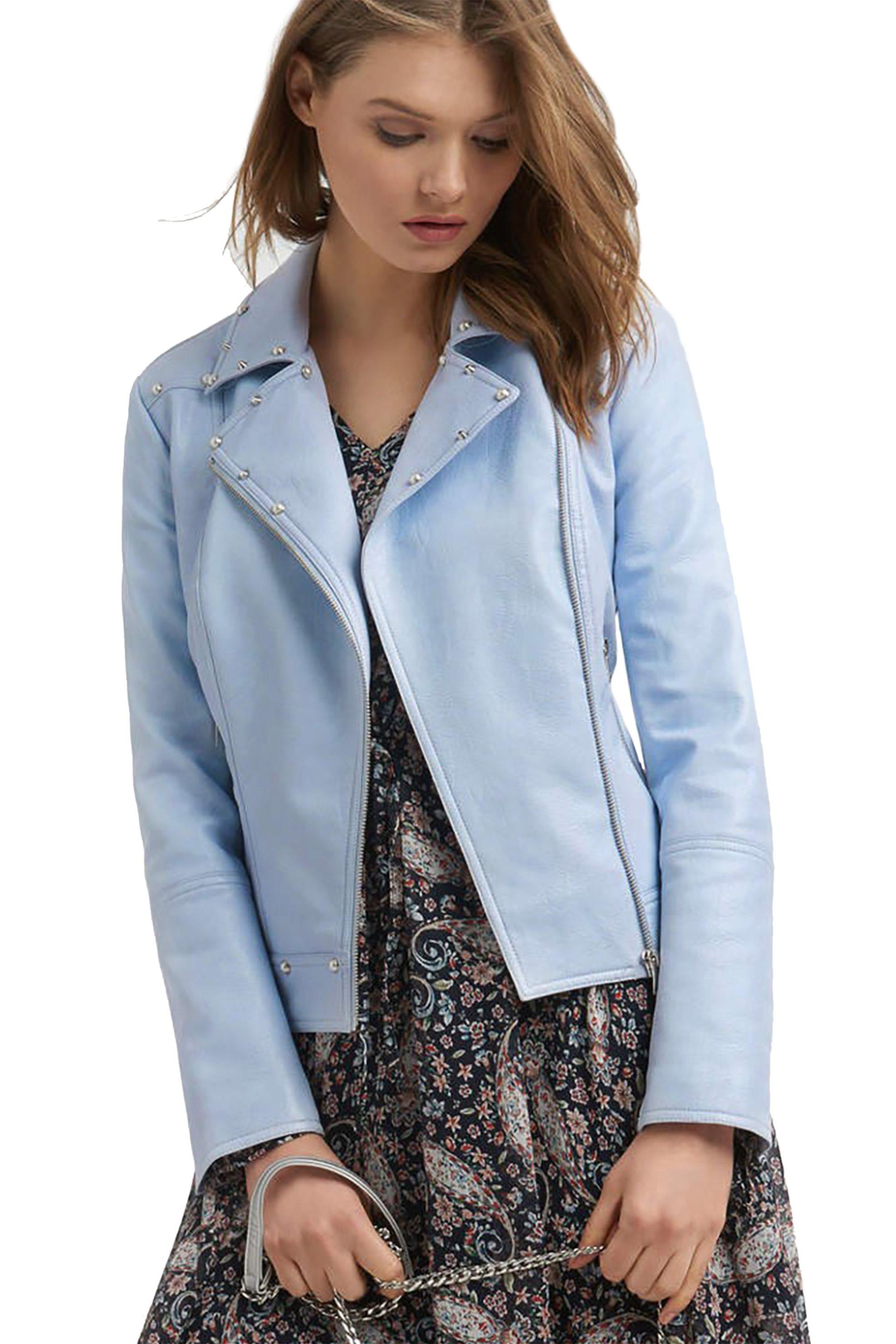 Μπουφάν από faux δέρμα Orsay - 800095-516000 - Γαλάζιο γυναικα   ρουχα   πανωφόρια   μπουφάν   σακάκια   δερμάτινα   faux δέρμα