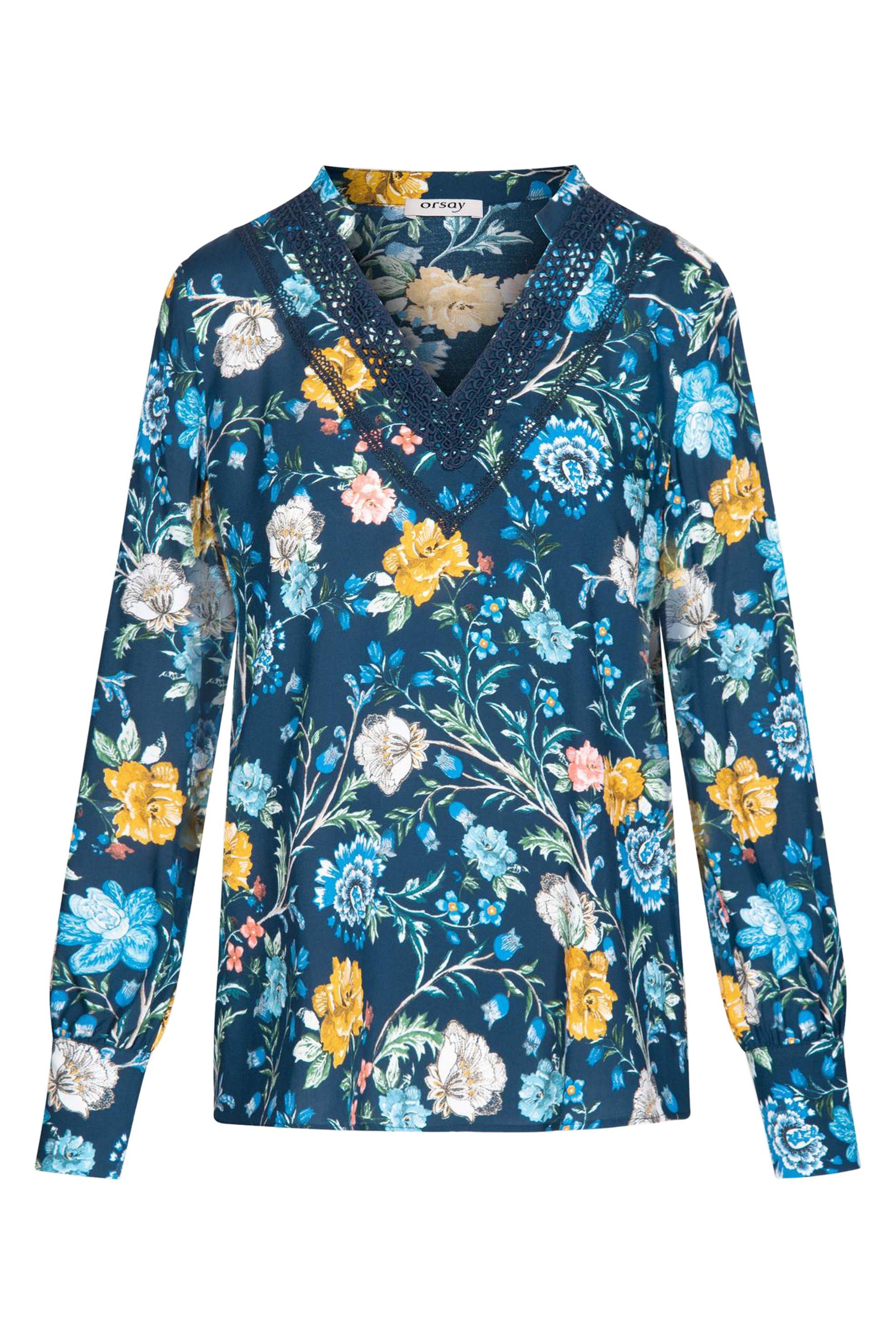 Orsay γυναικεία εμπριμέ μπλόυζα με λαιμόκοψη V - 663315-517000 - Μπλε Σκούρο γυναικα   ρουχα   tops   πουκάμισα   casual