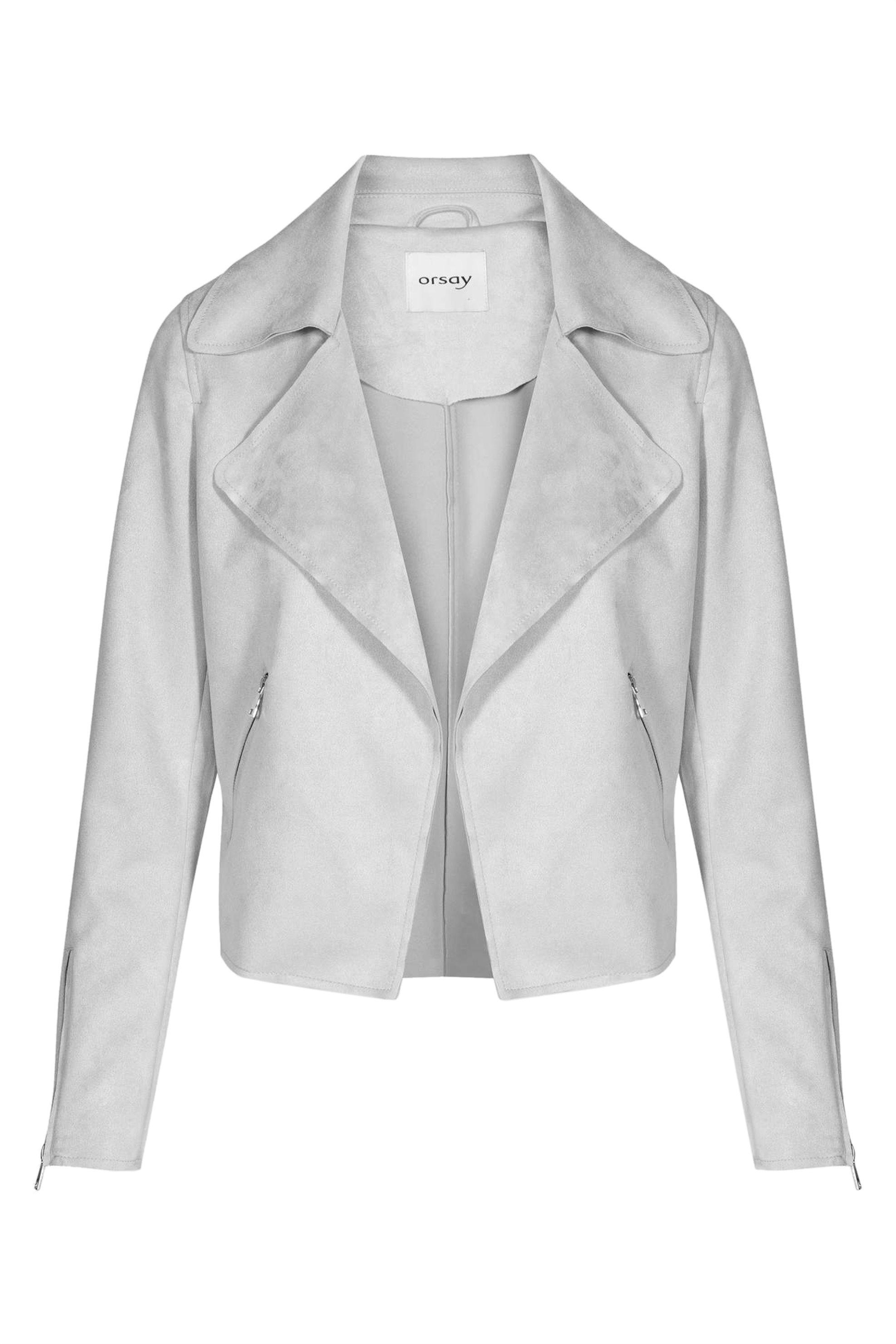 Orsay γυναικείο suede jacket με φαρδύ γιακά - 845004-692000 - Γκρι γυναικα   ρουχα   πανωφόρια   μπουφάν   σακάκια   δερμάτινα   faux δέρμα   σακάκ