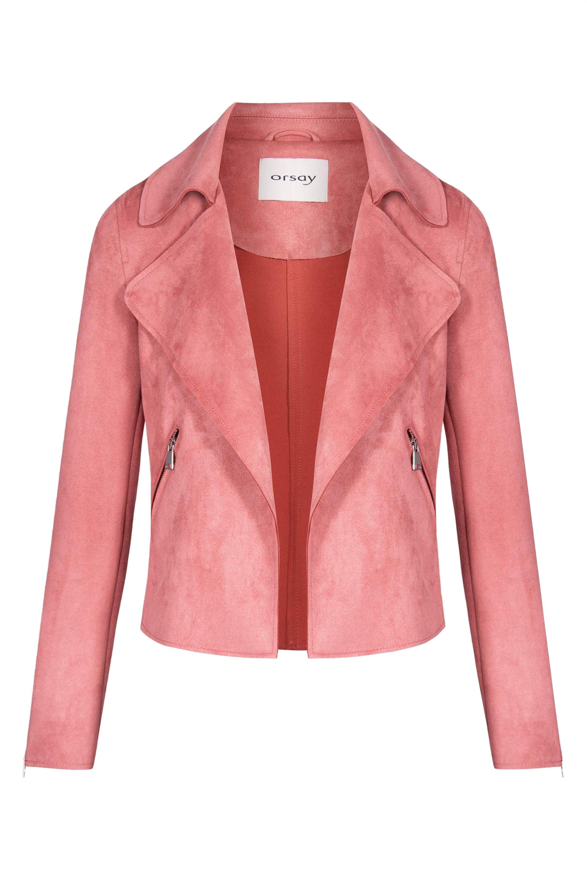 Orsay γυναικείο suede jacket με φαρδύ γιακά - 845004-344000 - Ροζ γυναικα   ρουχα   πανωφόρια   μπουφάν   σακάκια   δερμάτινα   faux δέρμα